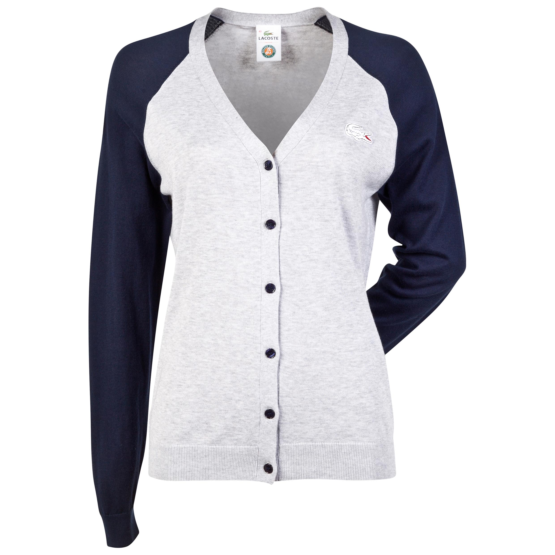 Roland-Garros Lacoste Button Cardigan - Womens Grey