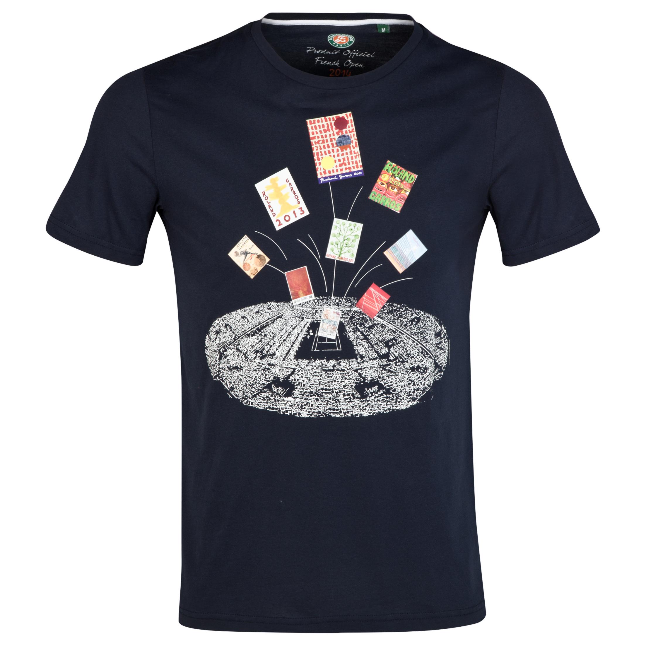 Roland-Garros Mens Mosaic T-Shirt Navy