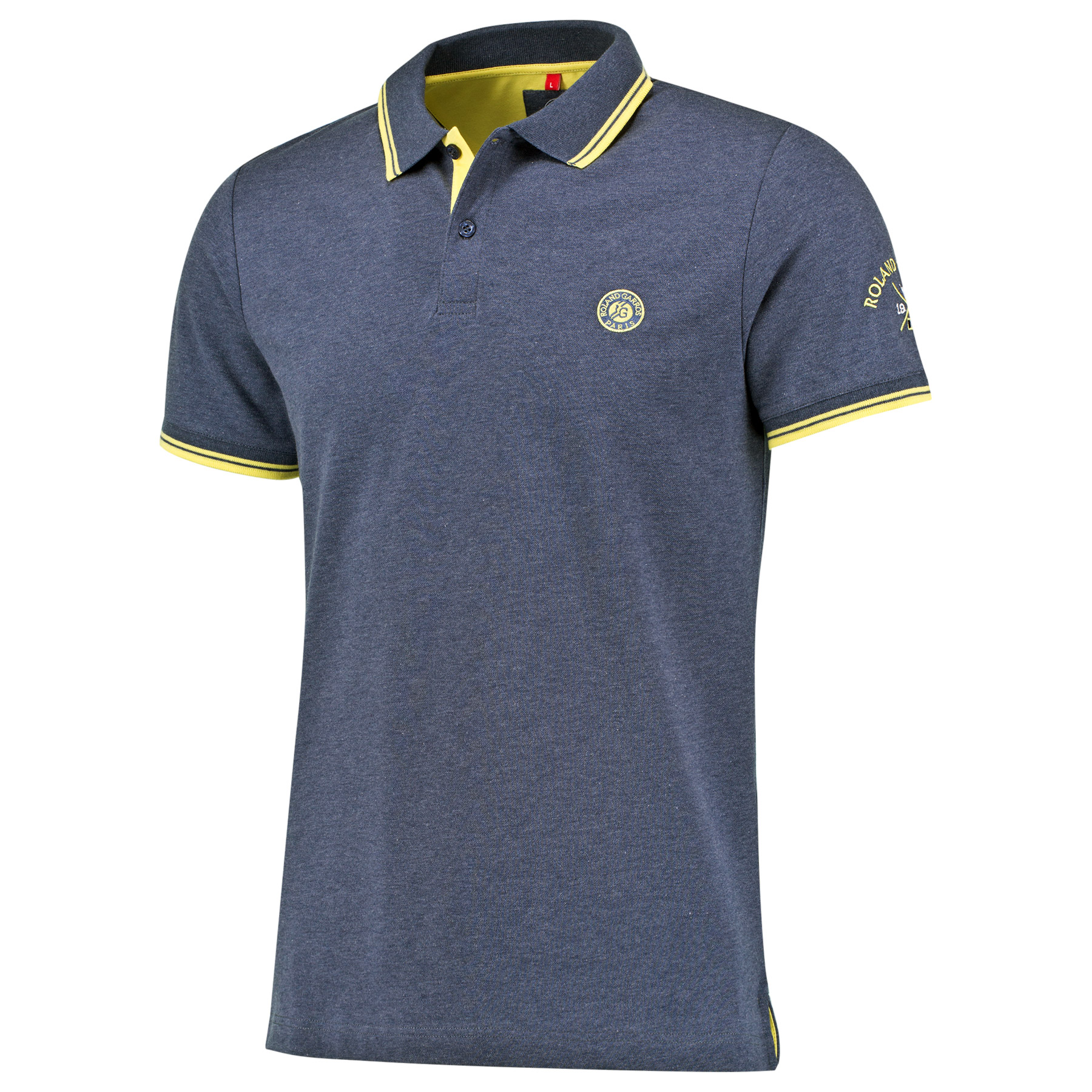 Roland-Garros Sportychic Collection Polo - Mens - Flecked Blue/Yellow
