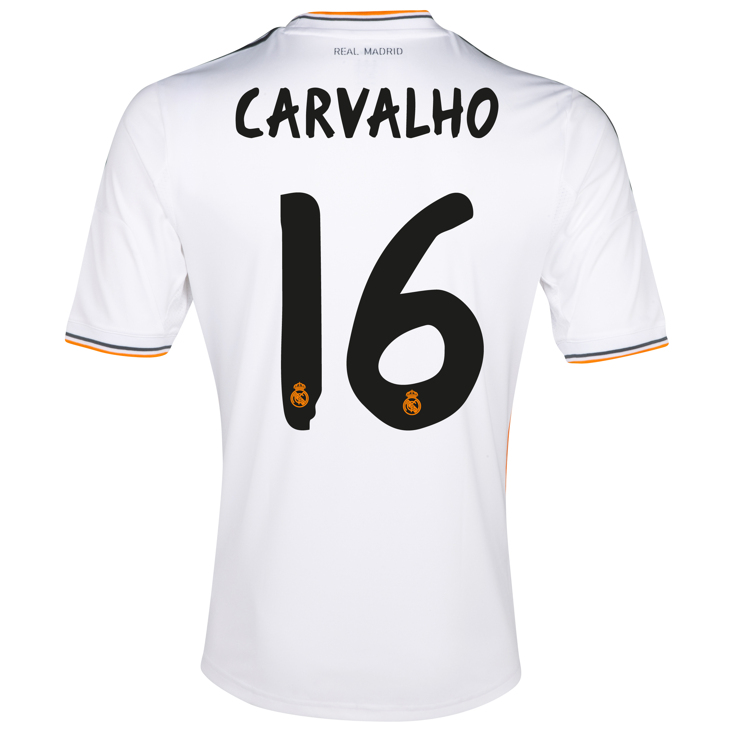 Real Madrid Home Shirt 2013/14 - Kids with Carvalho 16 printing