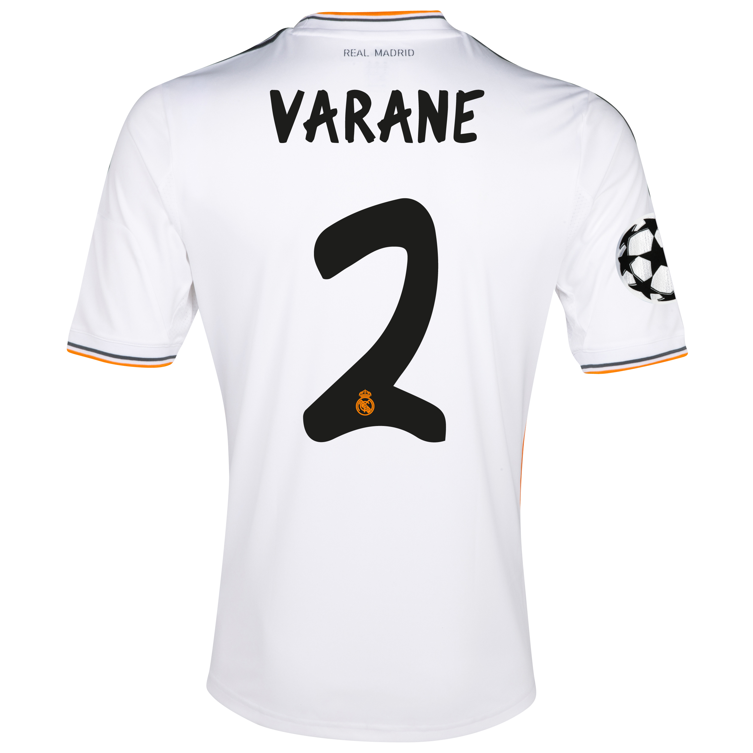 Real Madrid UEFA Champions League Home Shirt 2013/14 with Varane 2 printing