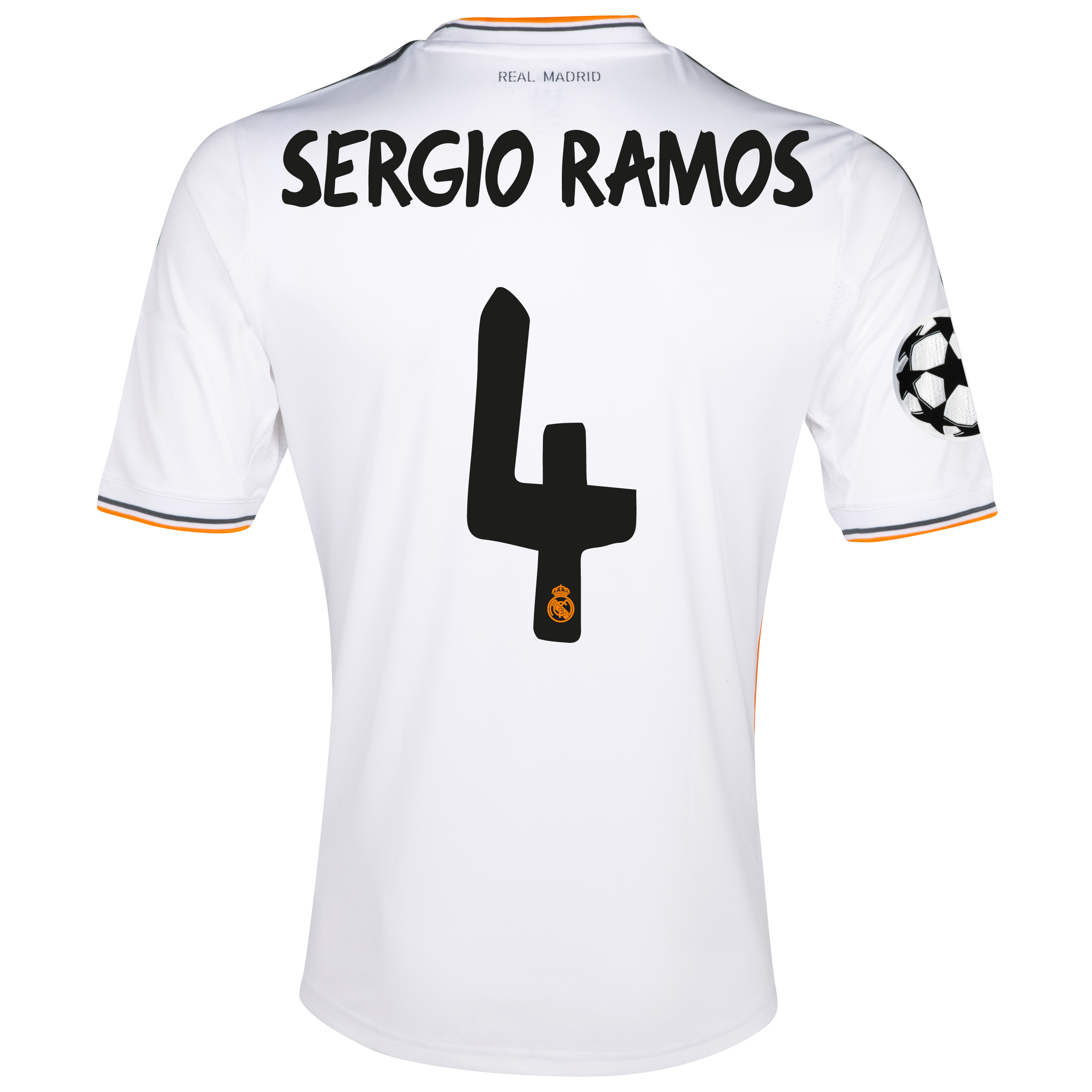 Real Madrid UEFA Champions League Home Shirt 2013/14 with Sergio Ramos 4 printing
