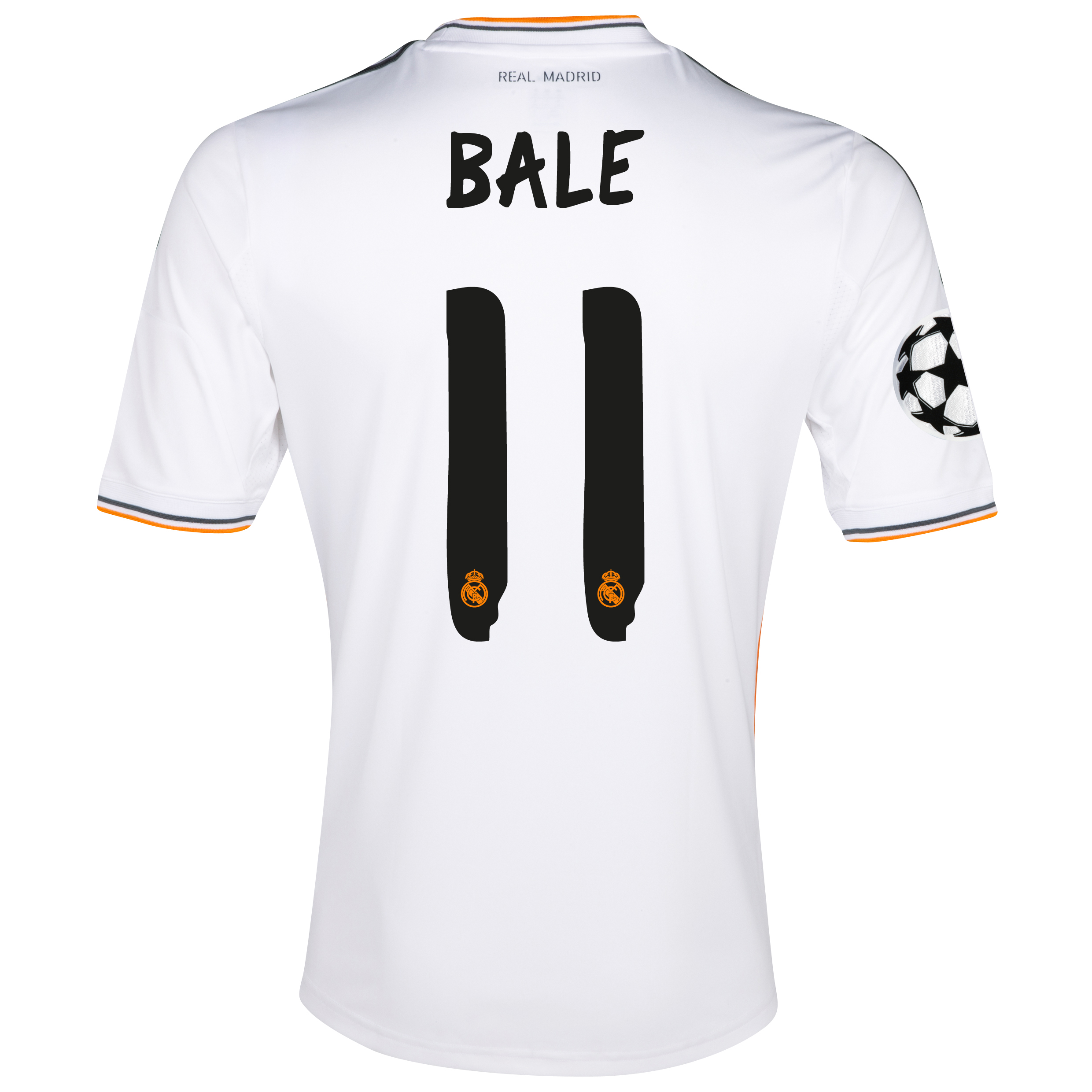 Real Madrid UEFA Champions League Home Shirt 2013/14 with Bale 11 printing