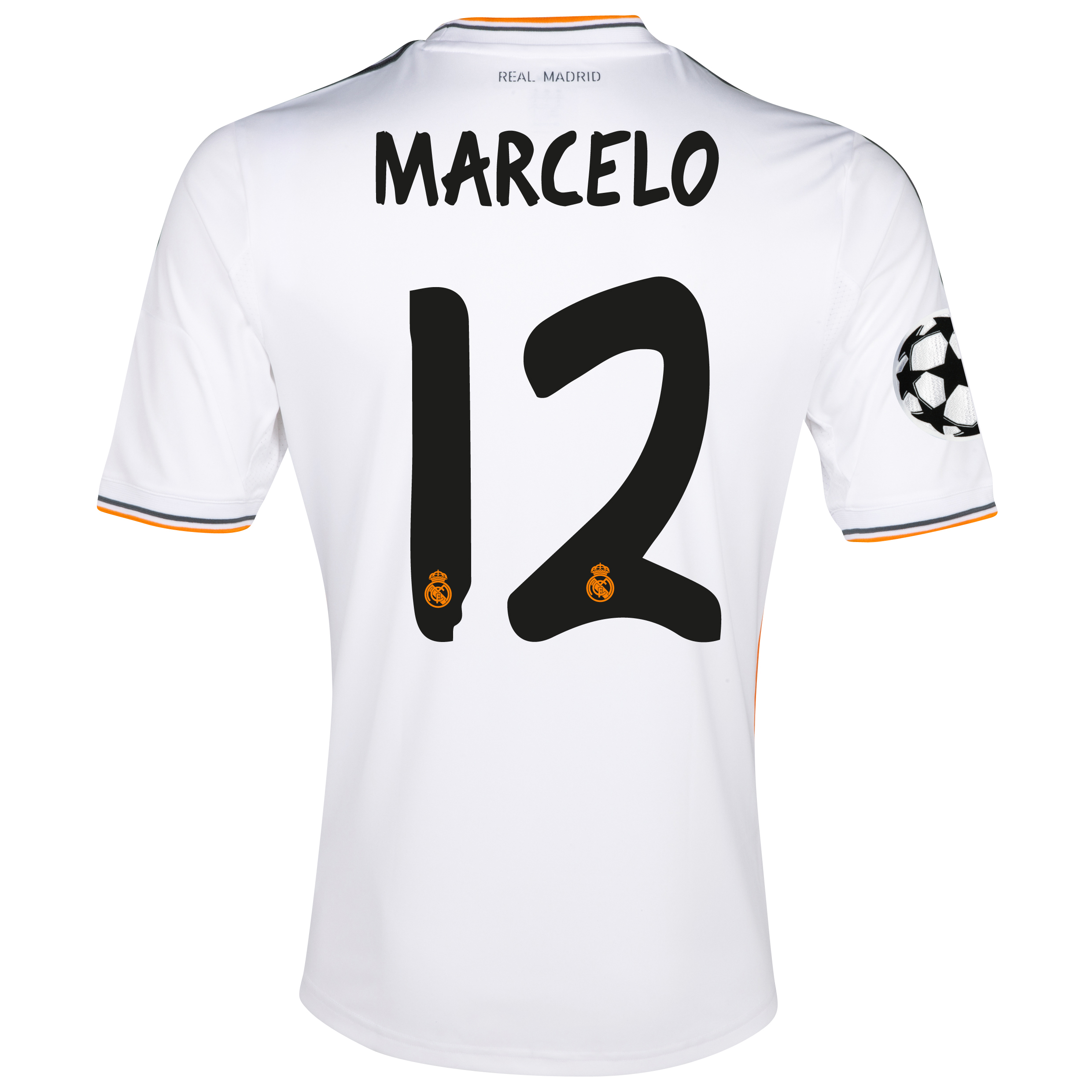 Real Madrid UEFA Champions League Home Shirt 2013/14 with Marcelo 12 printing