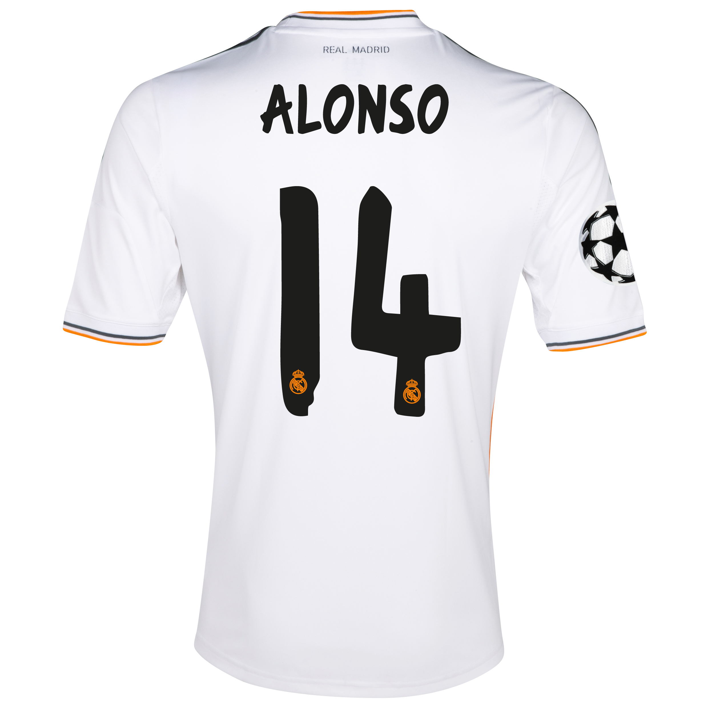 Image of Real Madrid UEFA Champions League Home Shirt 2013/14 with Alonso 14 pr, White
