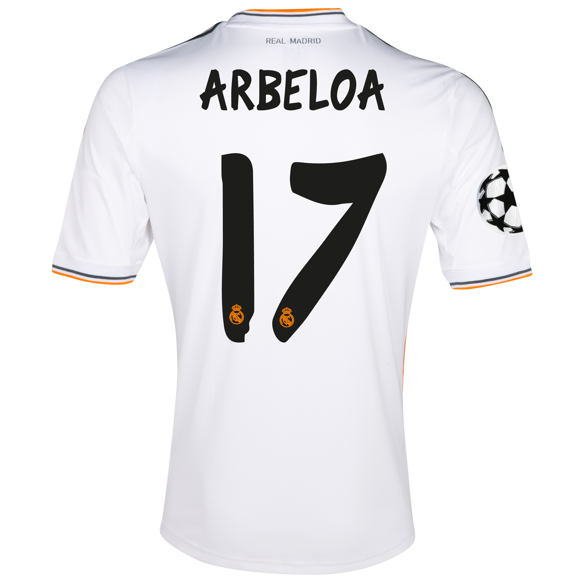 Real Madrid UEFA Champions League Home Shirt 2013/14 with Arbeloa 17 printing