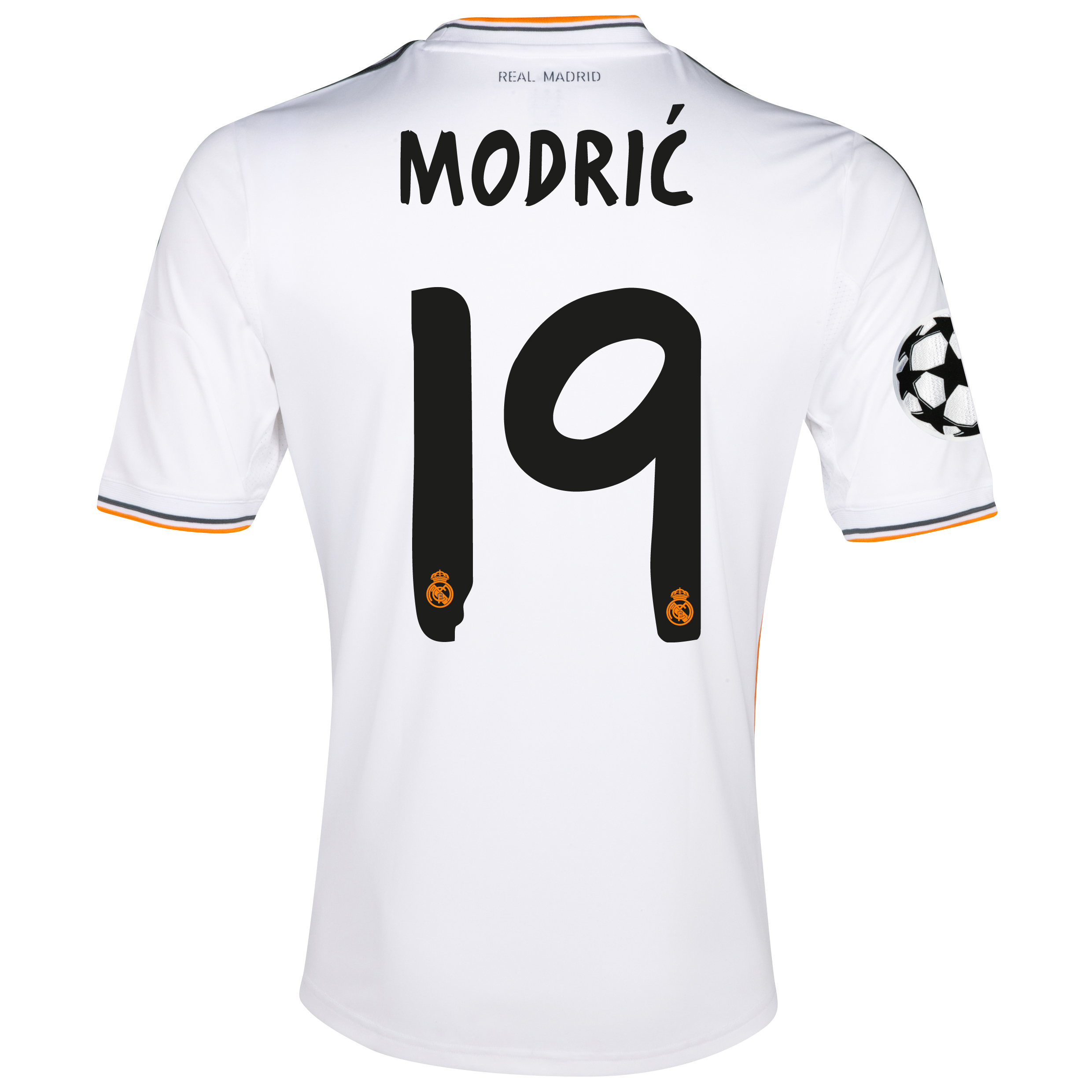 Image of Real Madrid UEFA Champions League Home Shirt 2013/14 with Modric 19 pr, White