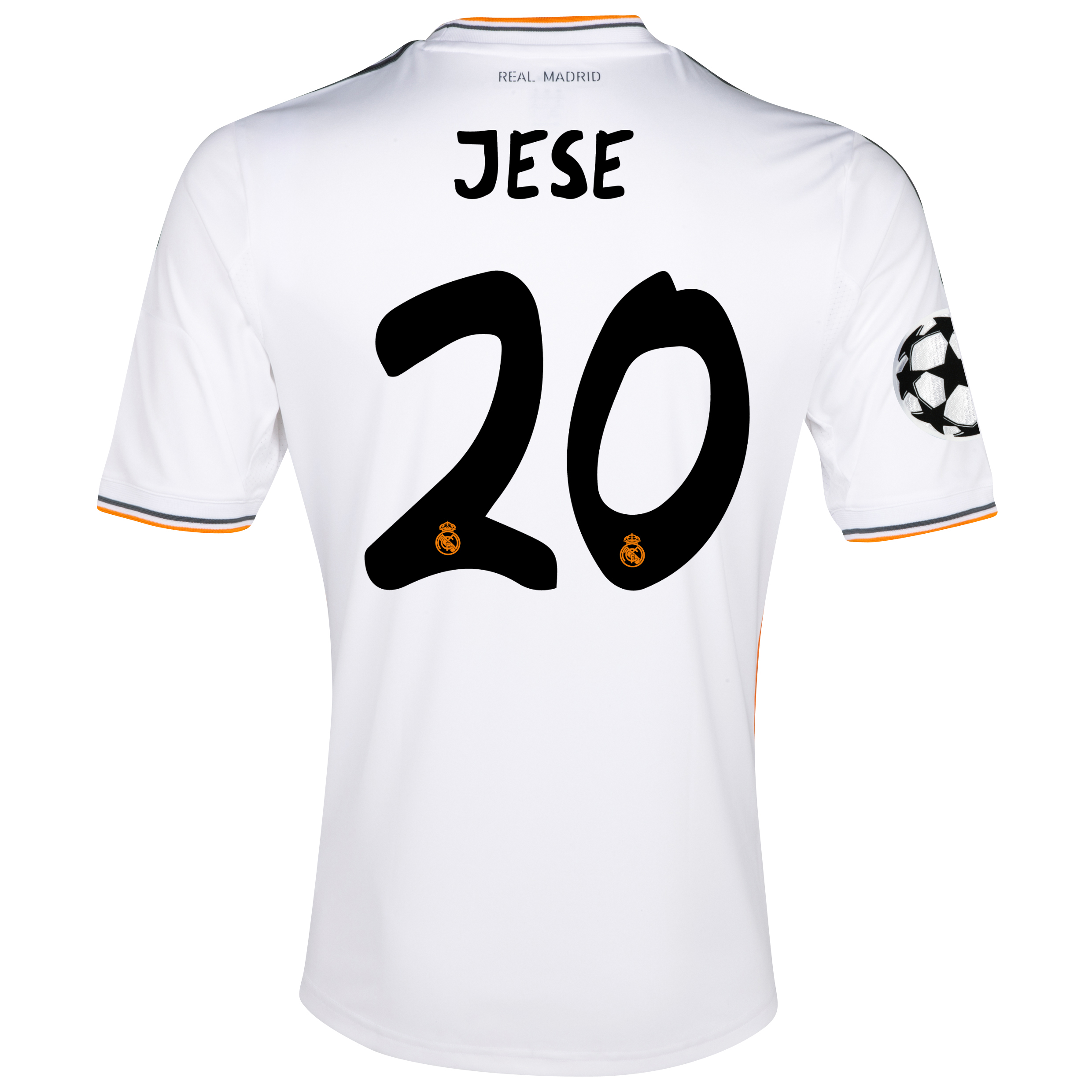 Real Madrid UEFA Champions League Home Shirt 2013/14 with Jese 20 printing