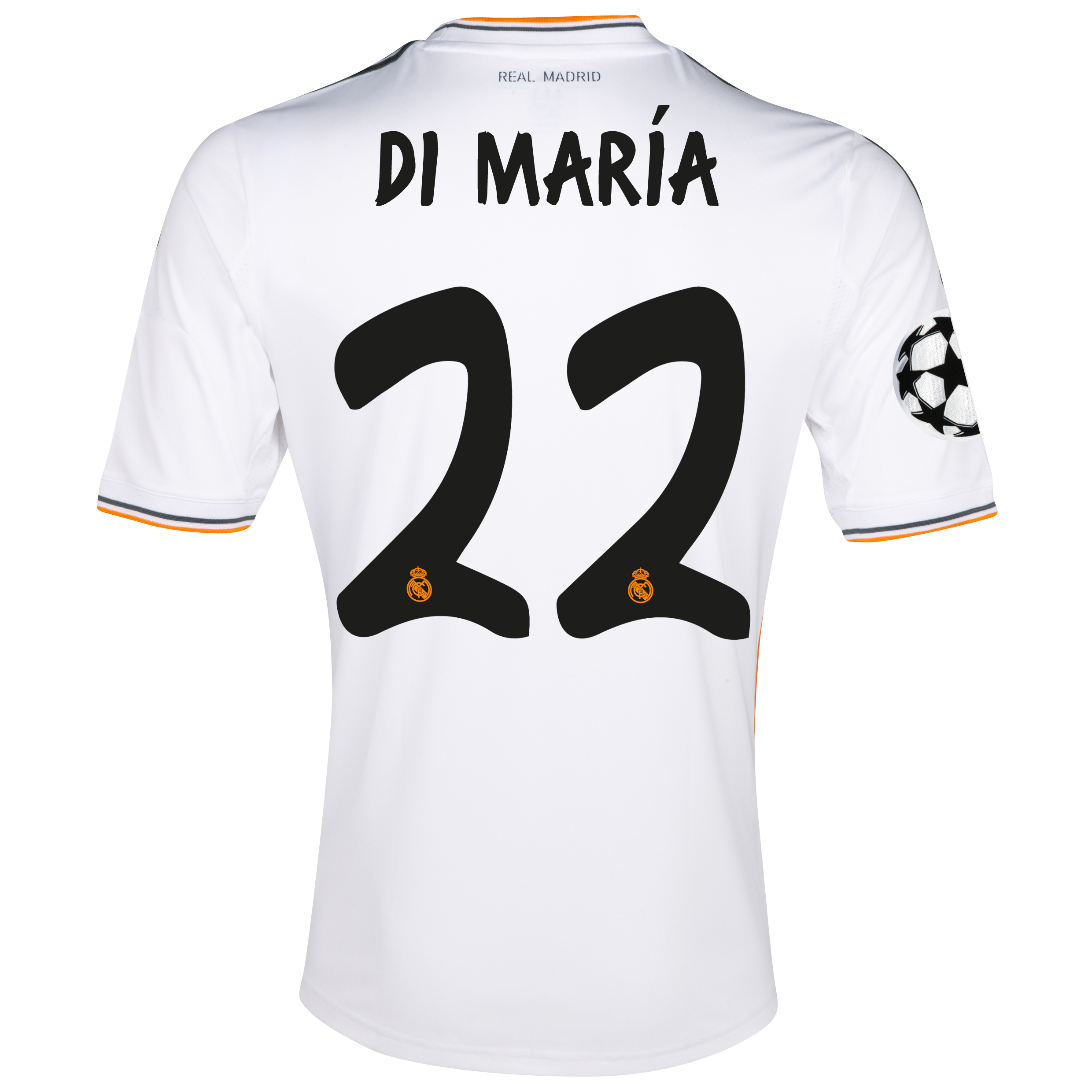 Real Madrid UEFA Champions League Home Shirt 2013/14 with Di María 22 printing