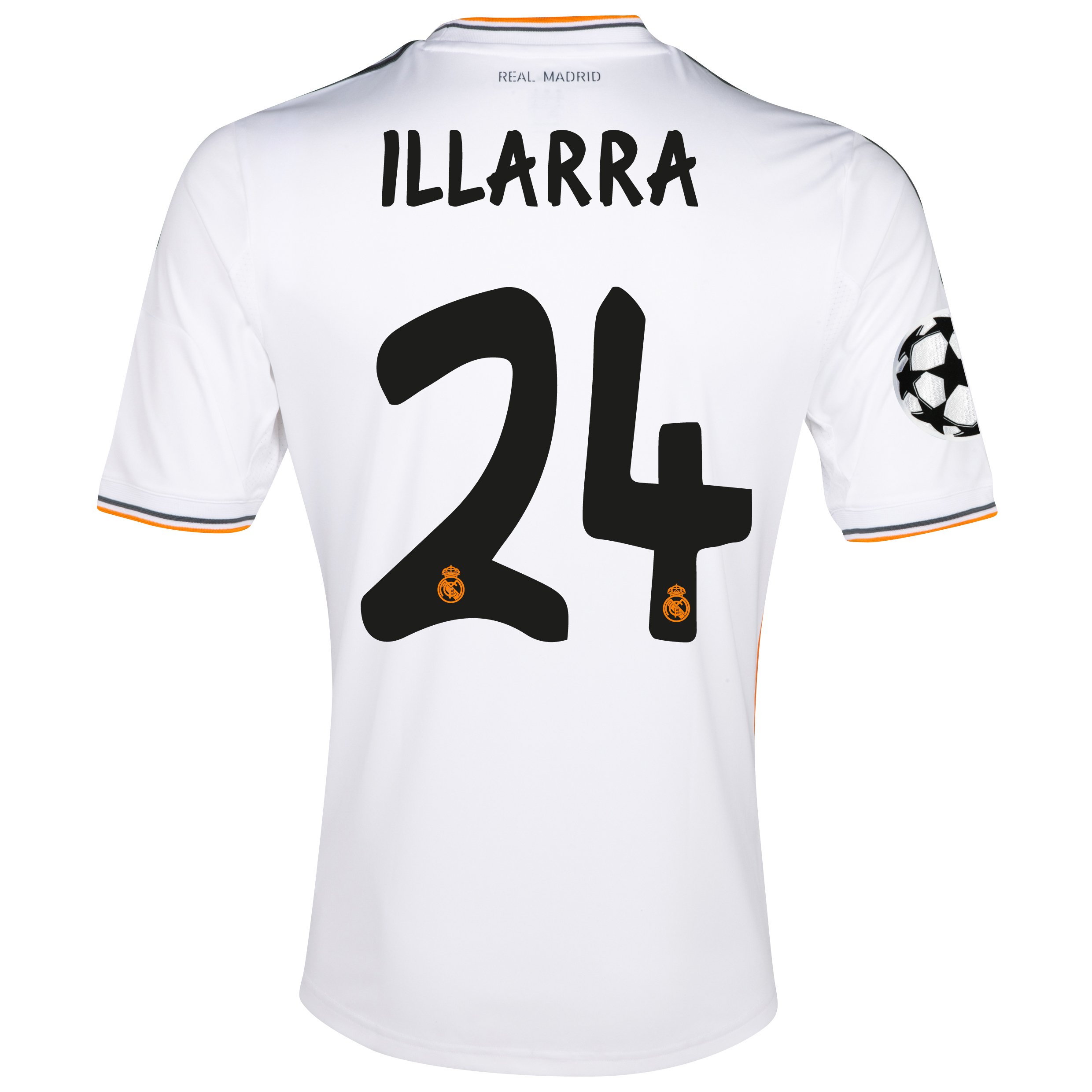 Real Madrid UEFA Champions League Home Shirt 2013/14 with Illarra 24 printing