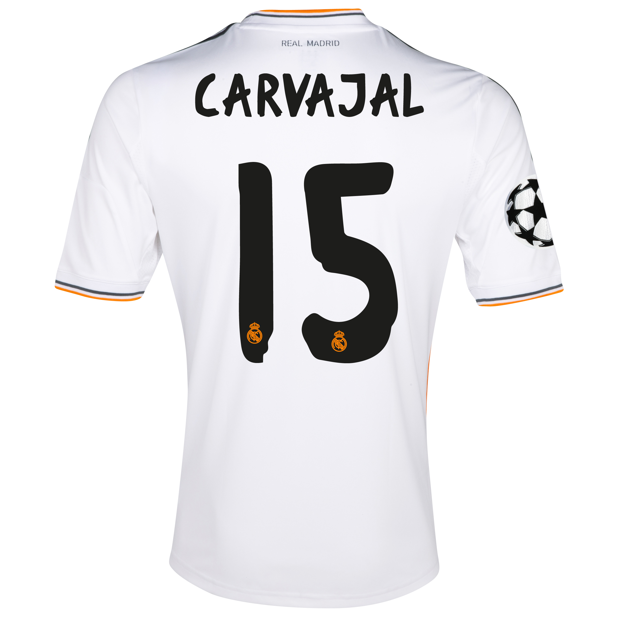 Real Madrid UEFA Champions League Home Shirt 2013/14 - kids with Carvajal 15 printing