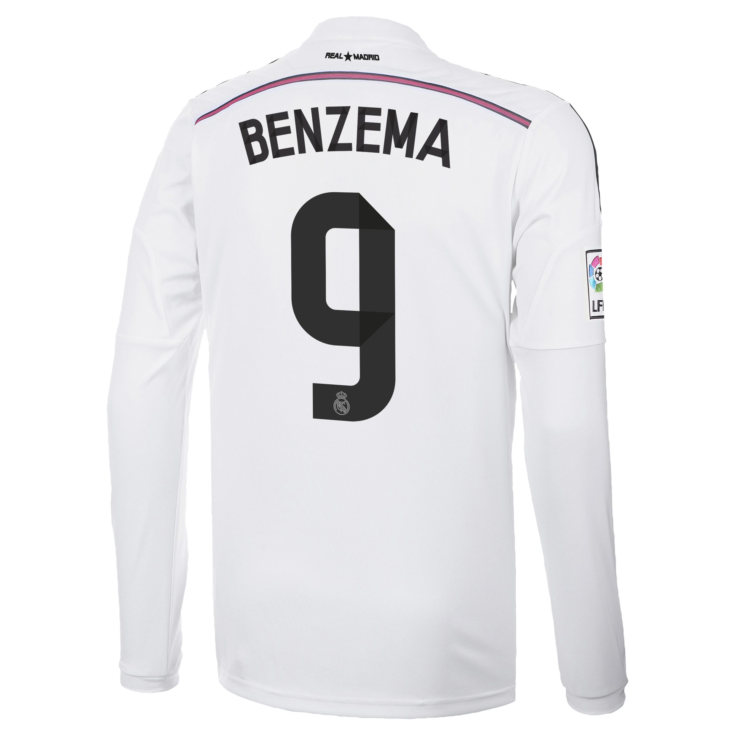 Real Madrid Home Shirt 2014/15 Long Sleeve with Benzema 9 printing