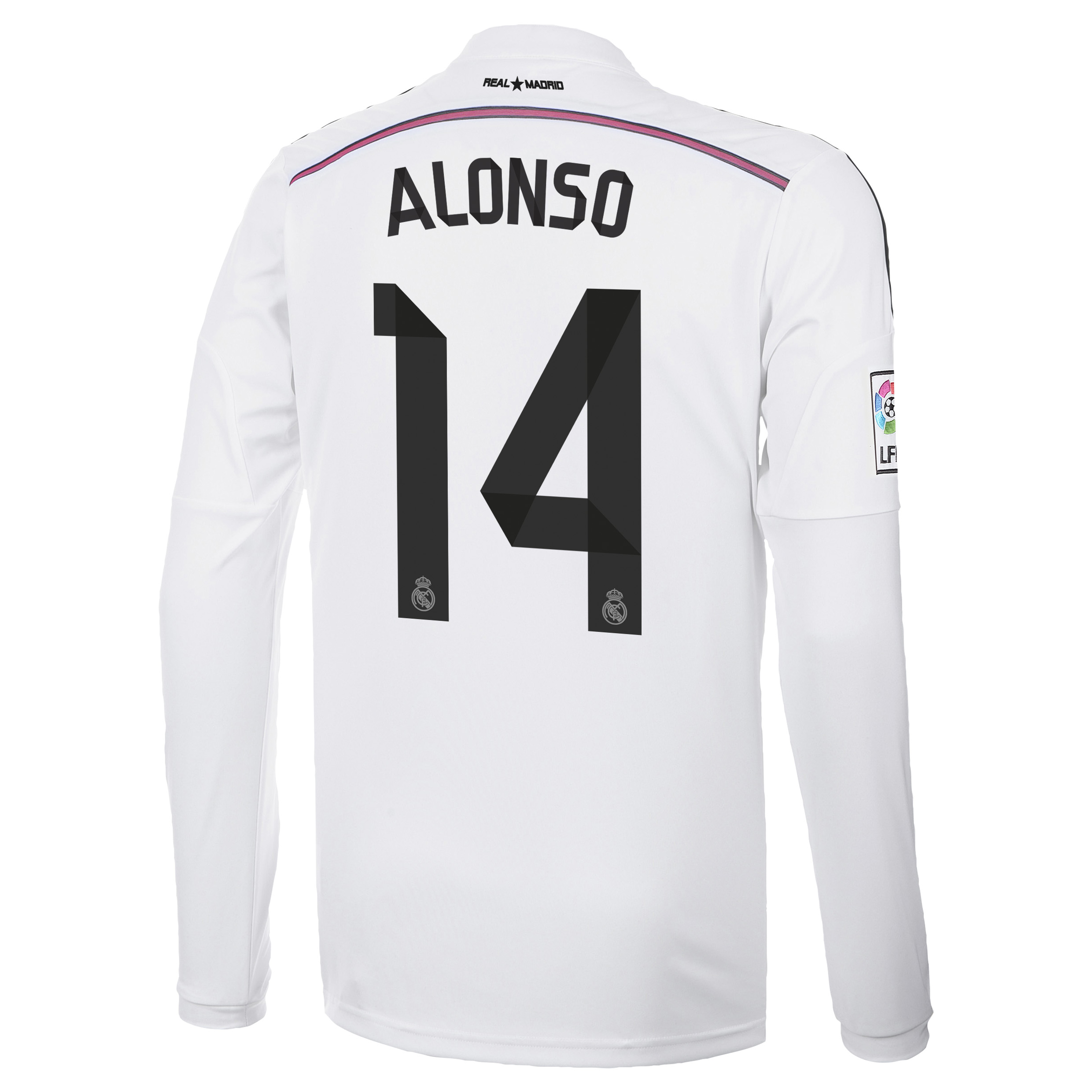 Real Madrid Home Shirt 2014/15 Long Sleeve with Alonso 14 printing