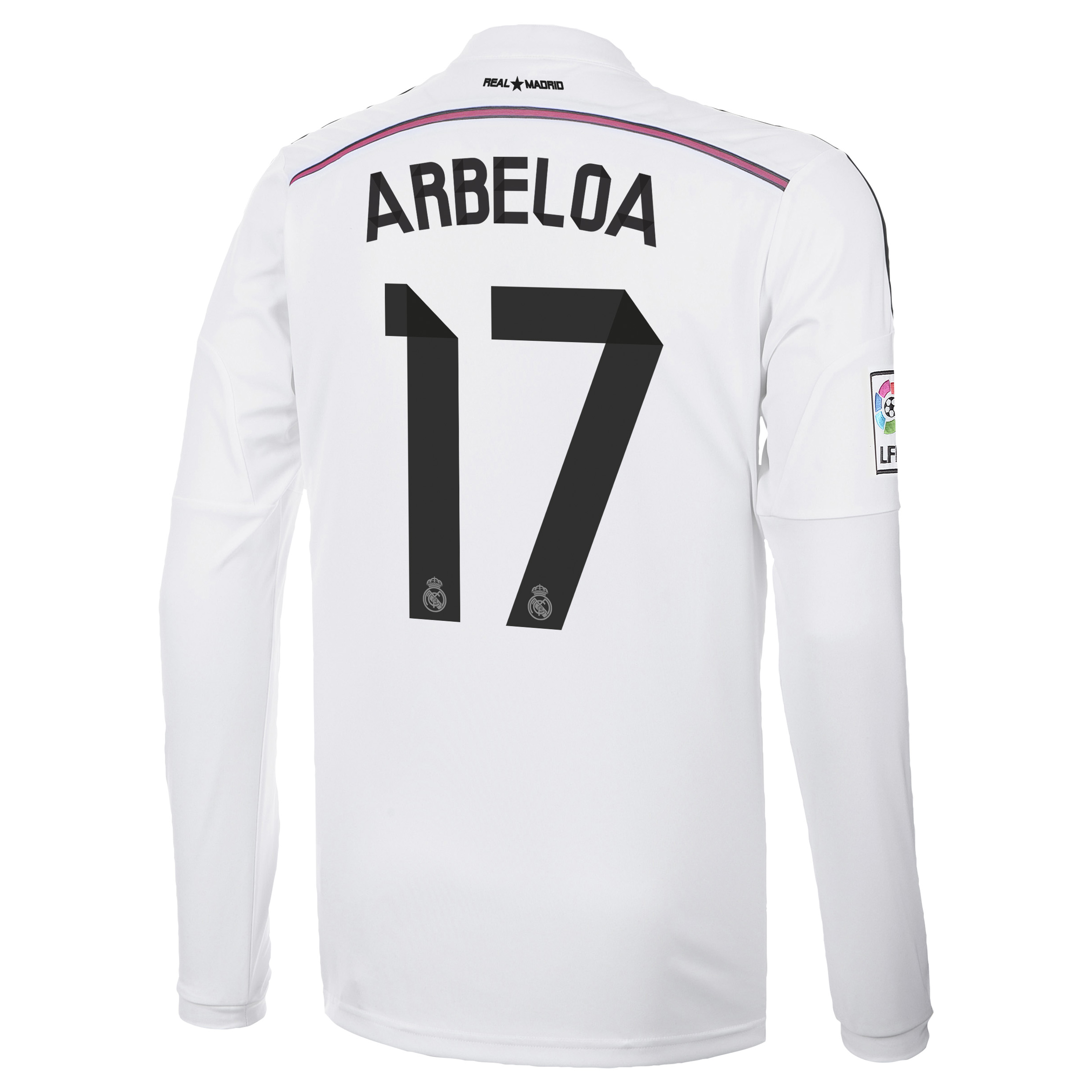 Real Madrid Home Shirt 2014/15 Long Sleeve with Arbeloa 17 printing
