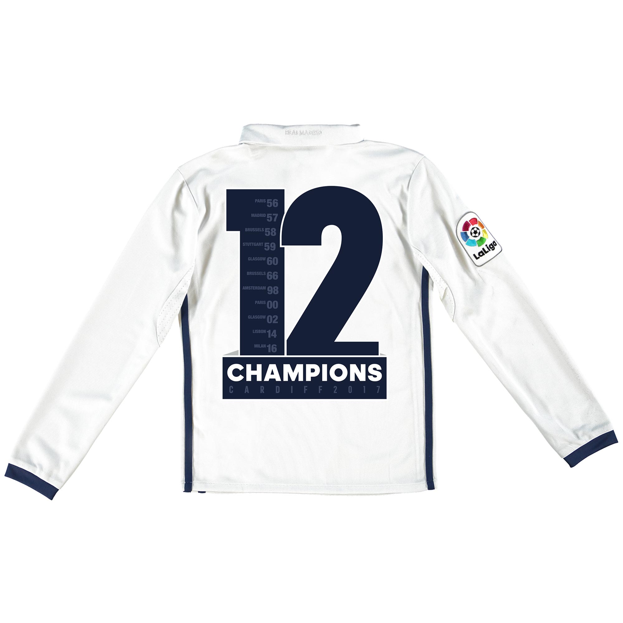 Real Madrid Home Shirt 2016-17 - Kids - Long Sleeve with Champions 12