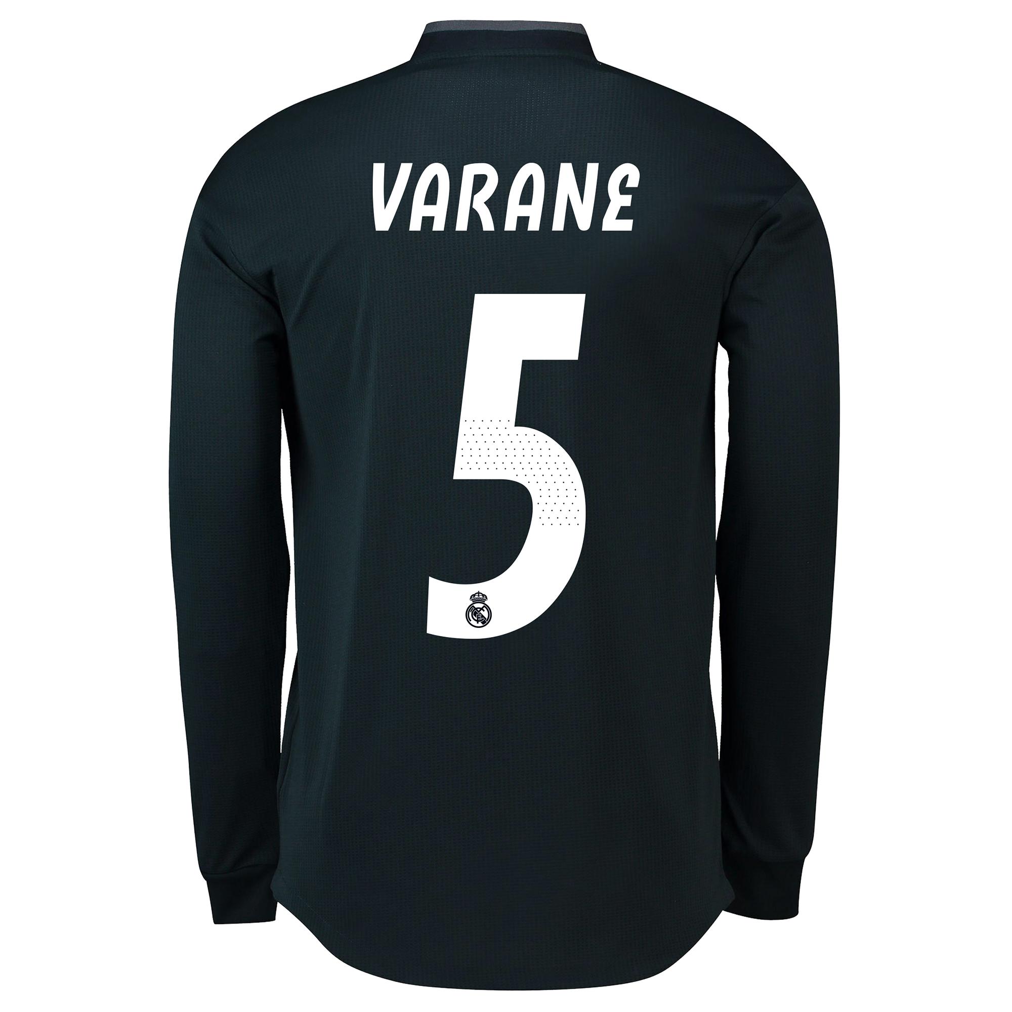 Image of Real Madrid Away Adi Zero Shirt 2018-19 - Long Sleeve with Varane 5 printing