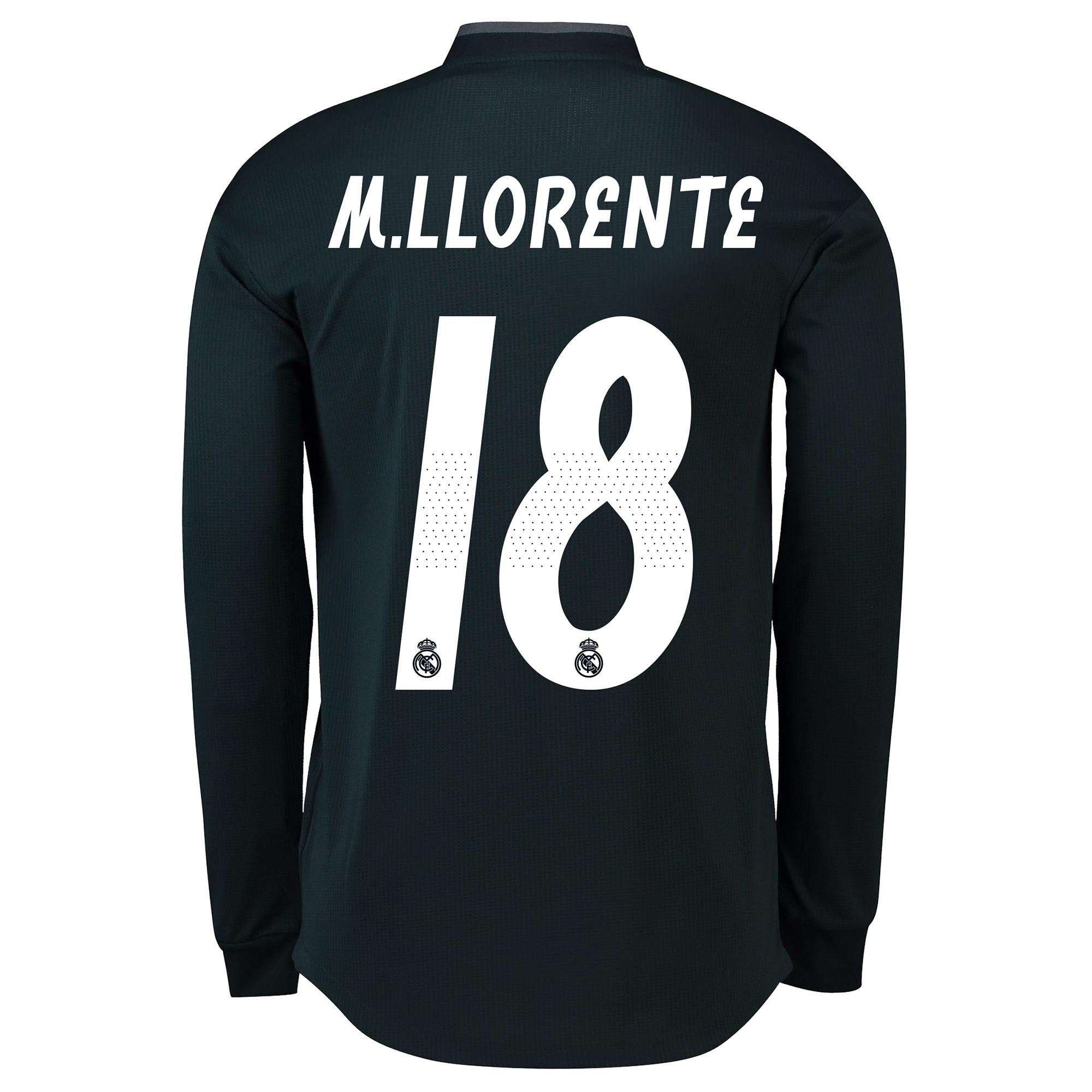 Image of Real Madrid Away Adi Zero Shirt 2018-19 - Long Sleeve with M. Llorente 18 printing