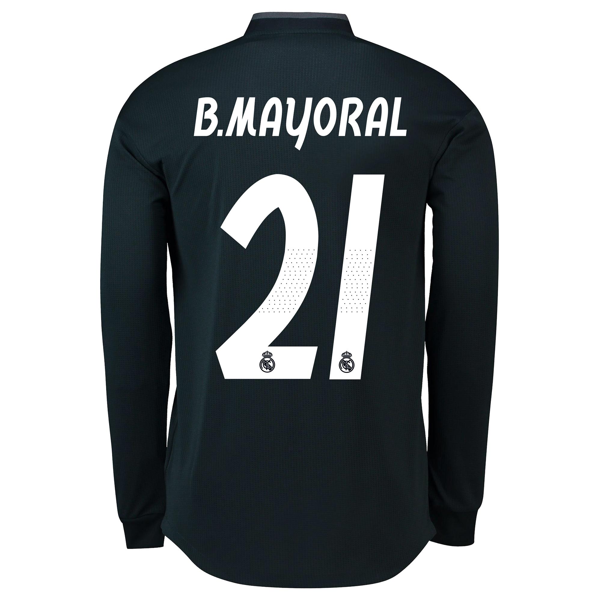 Image of Real Madrid Away Adi Zero Shirt 2018-19 - Long Sleeve with B. Mayoral 21 printing