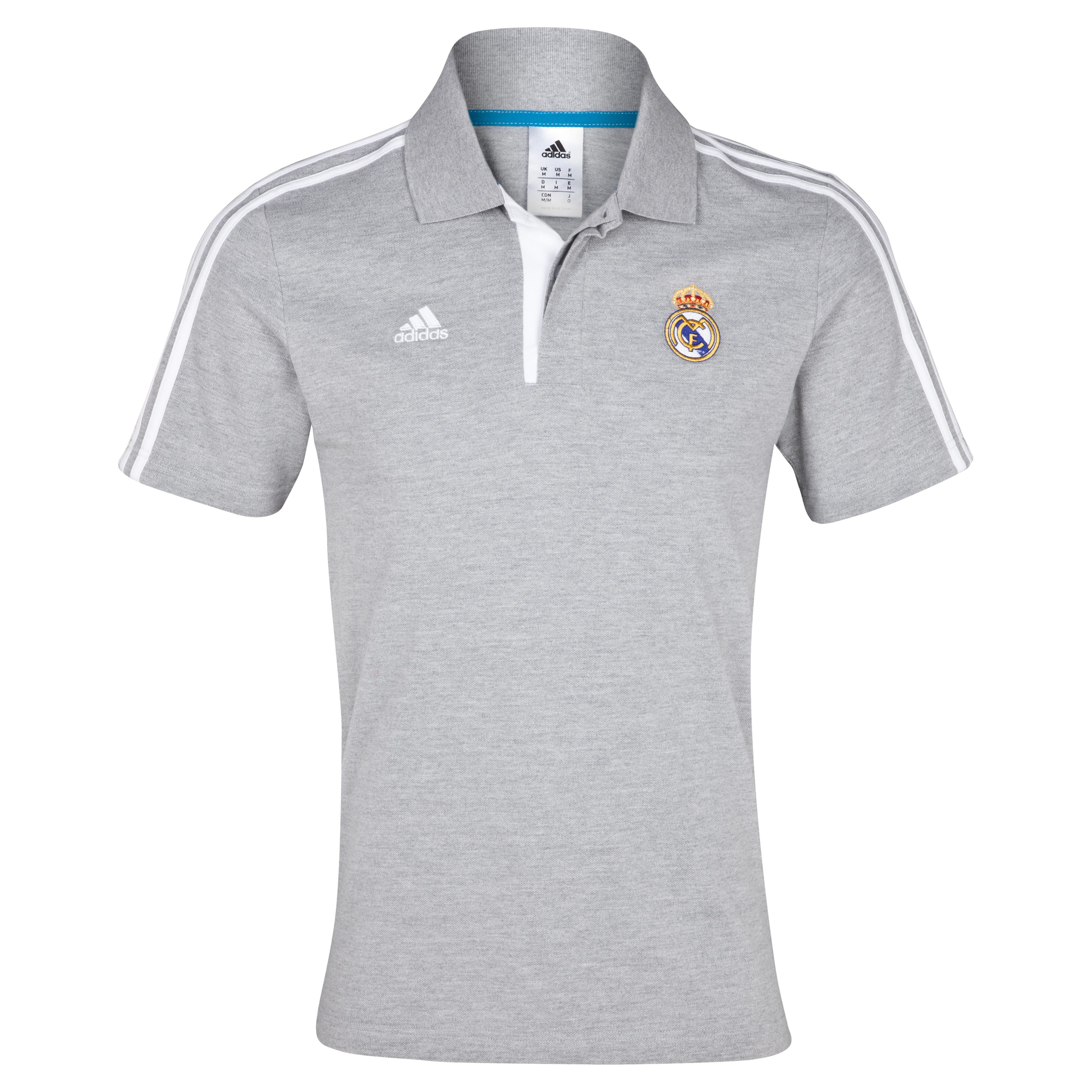 Real Madrid Core Polo - Medium Grey Heather/White