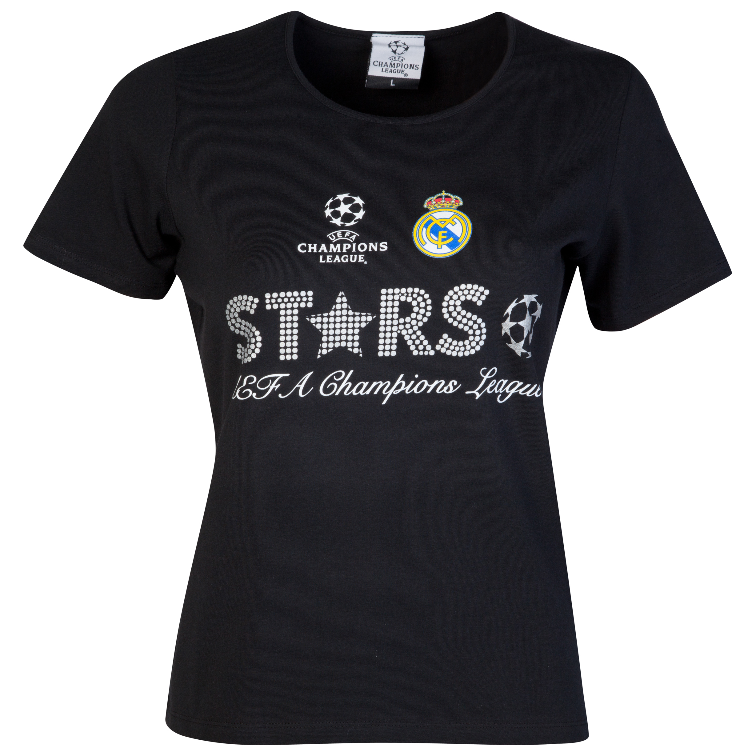 Real Madrid UEFA Champions League Metallic Print Stars T-Shirt - Black - Womens