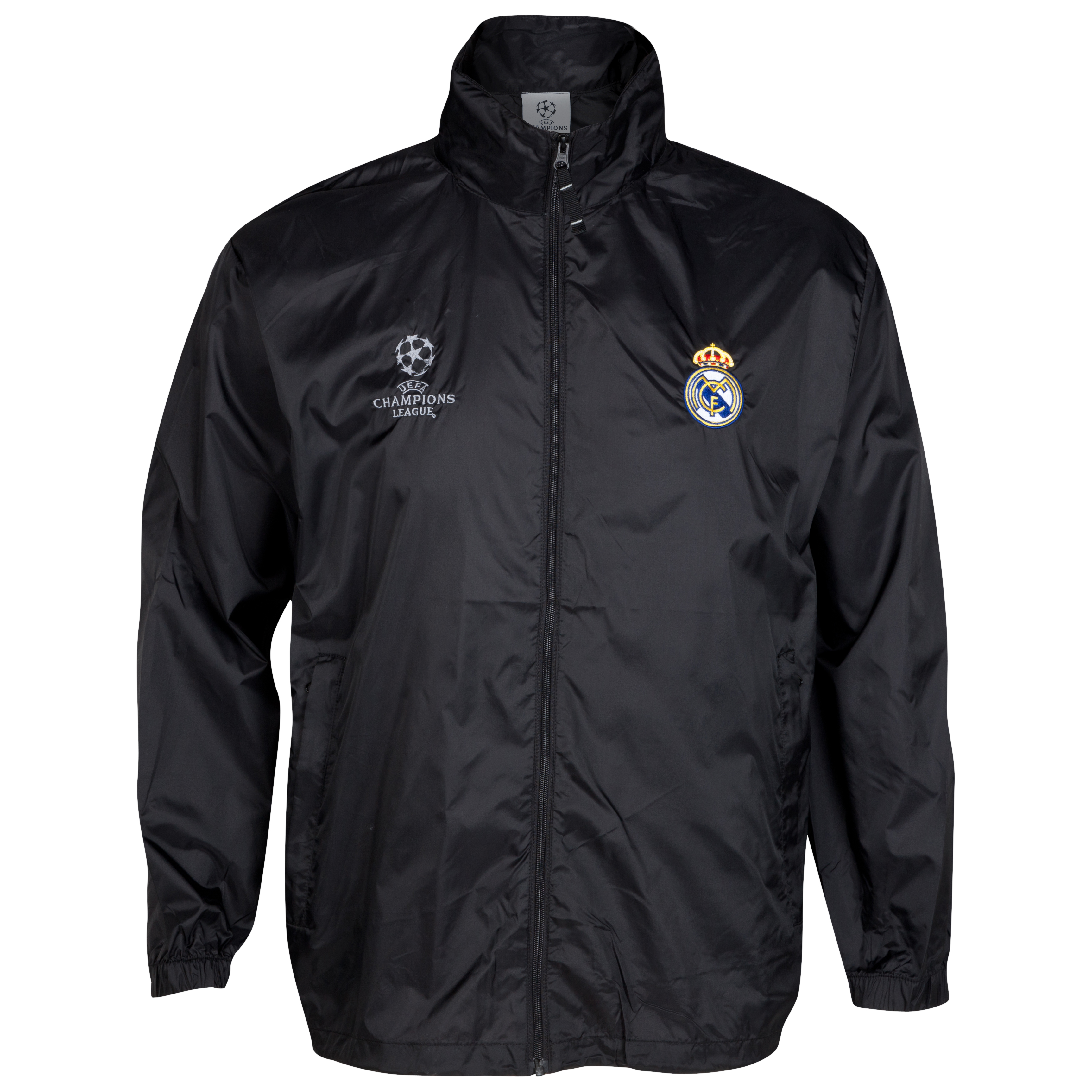 Real Madrid UEFA Champions League Embroidered Windbreaker - Black