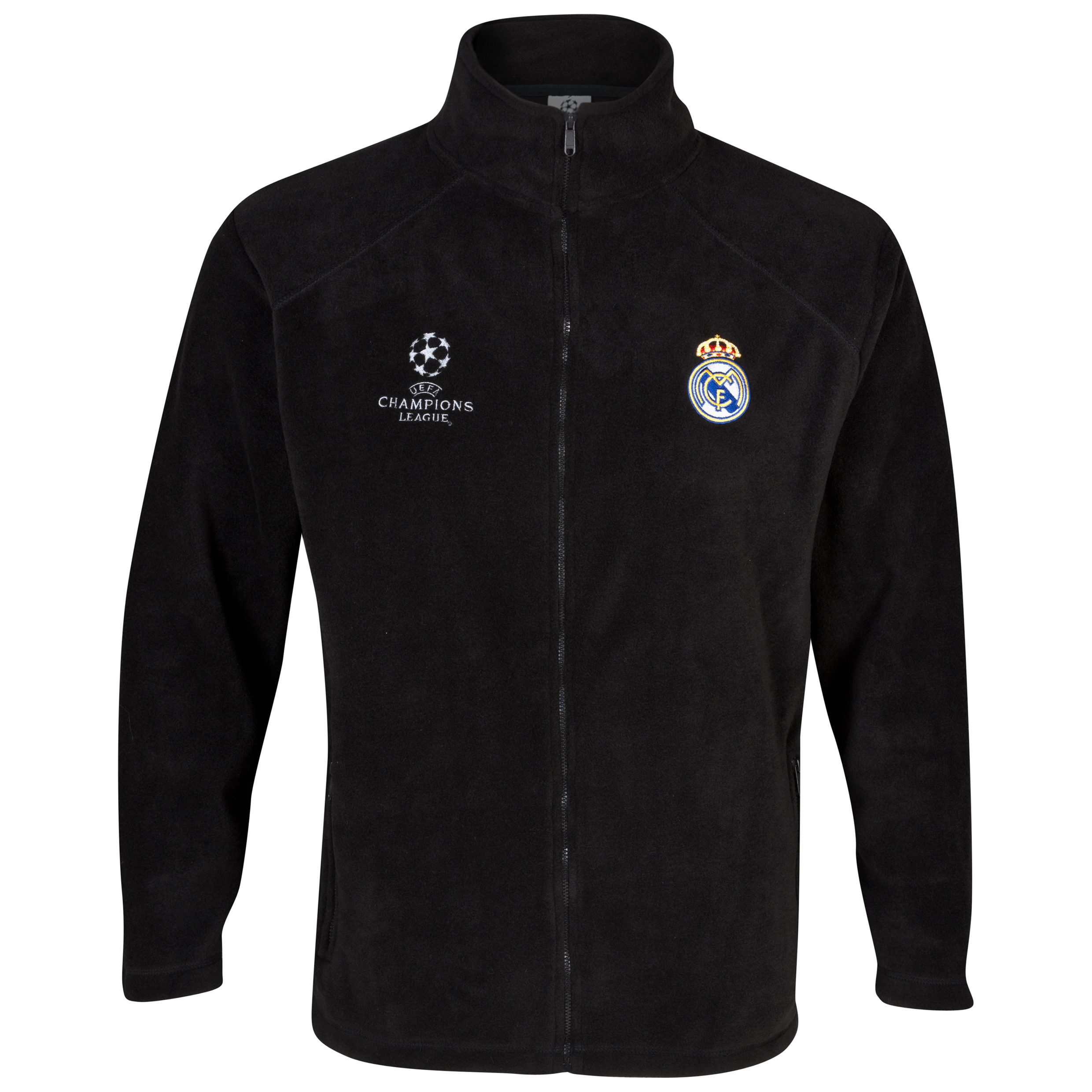 Real Madrid UEFA Champions League Embroidered Fleece Jacket - Black