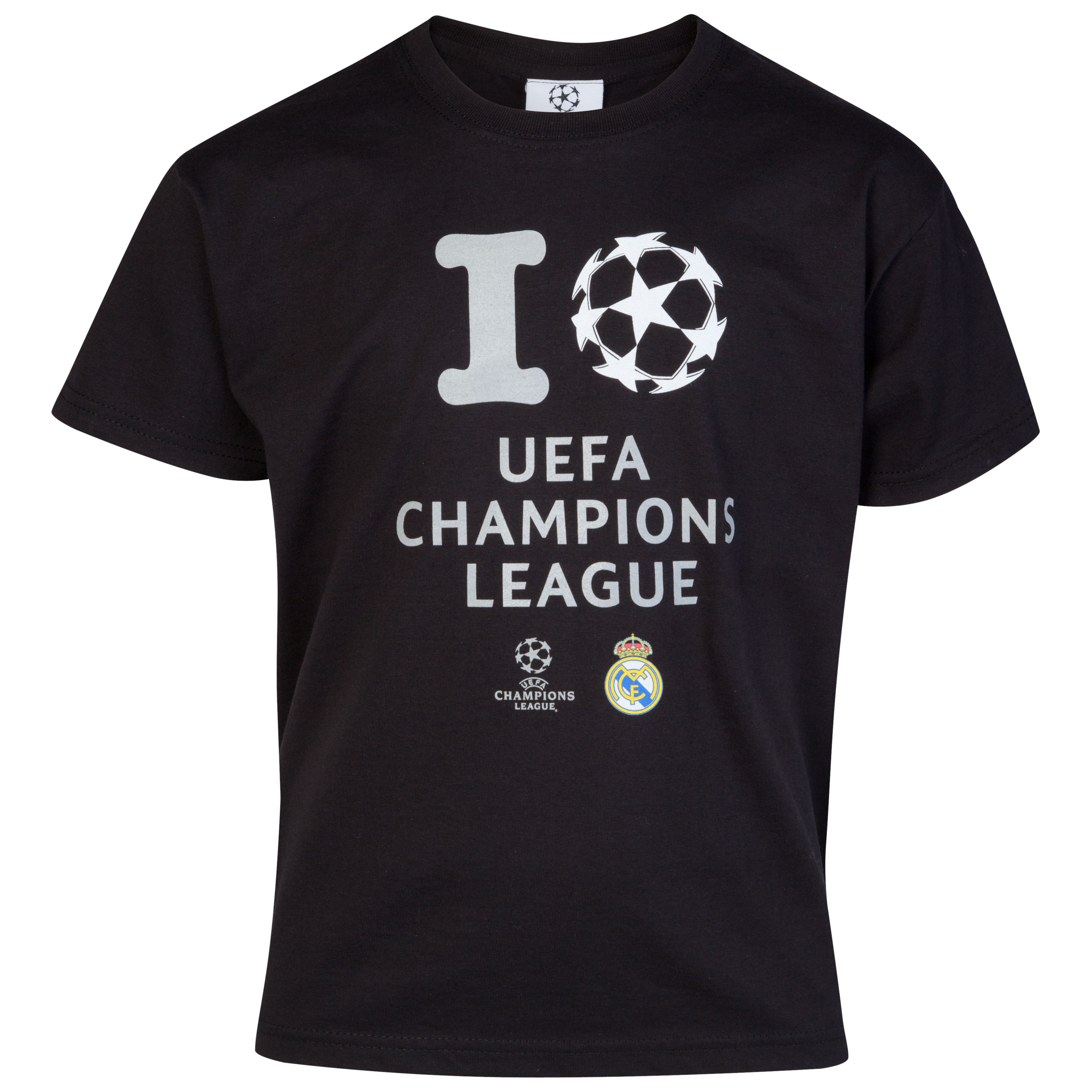 Real Madrid UEFA Champions League 'I Love UCL' Glow In The Dark Printed T-Shirt - Black - Junior