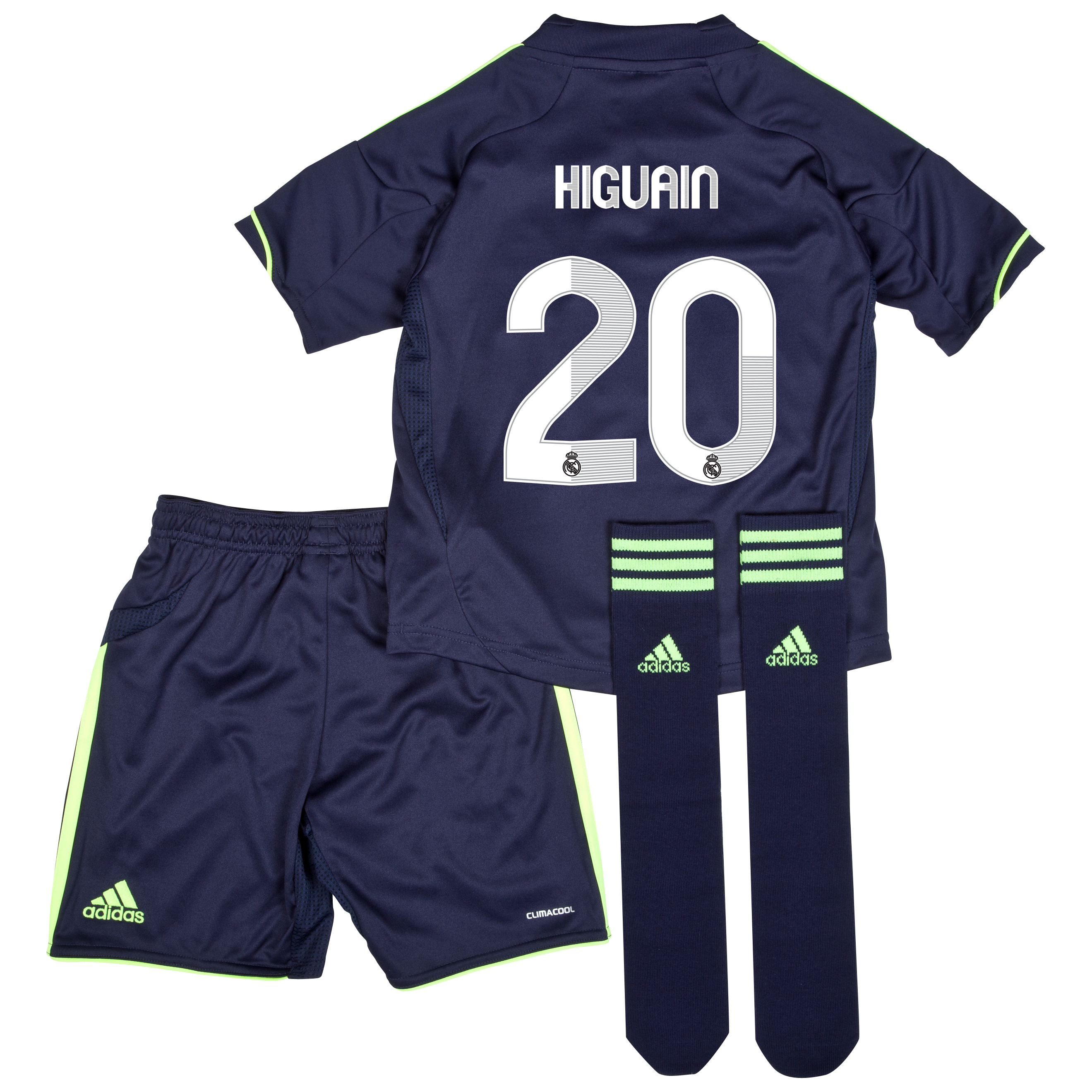 Mini kit visitante Real Madrid 2012/13 con impresión 20 Higuaín