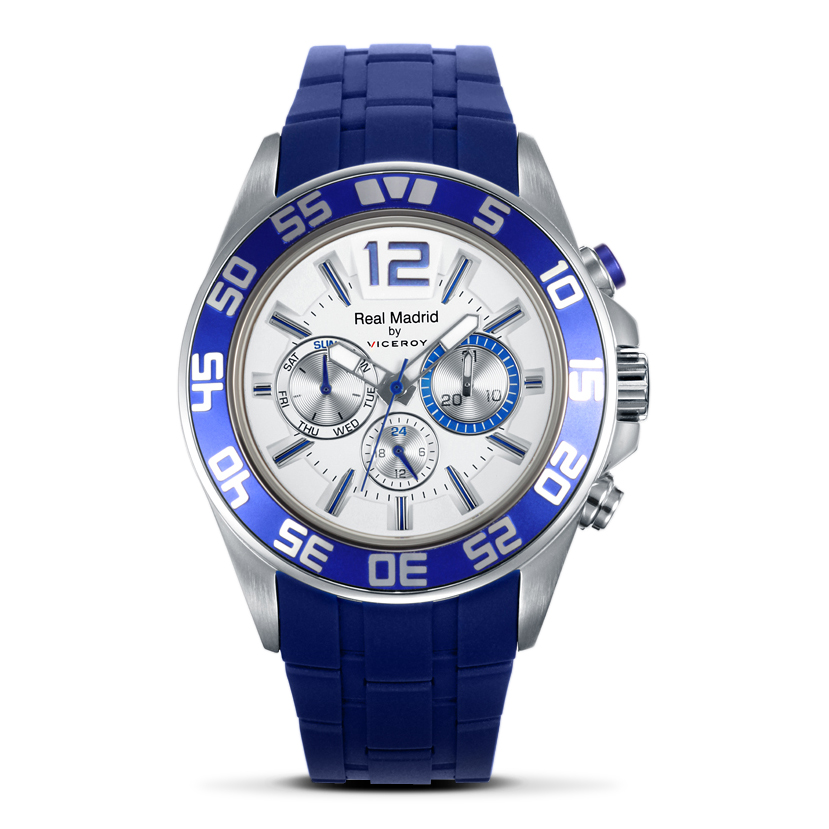 Real Madrid Blue Rubber Strap Watch with White Face