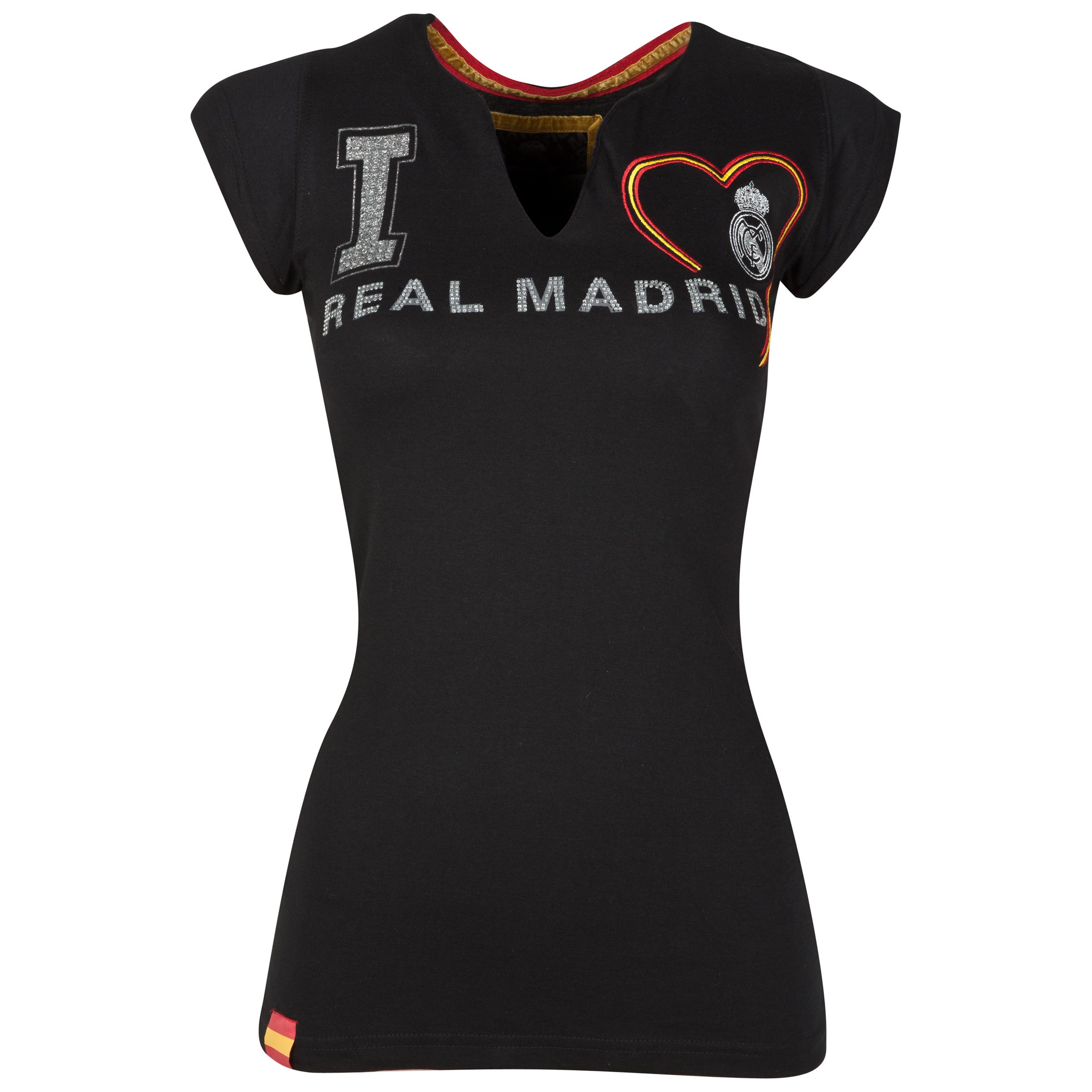 Real Madrid V Neck Crest T-Shirt - Black - Womens