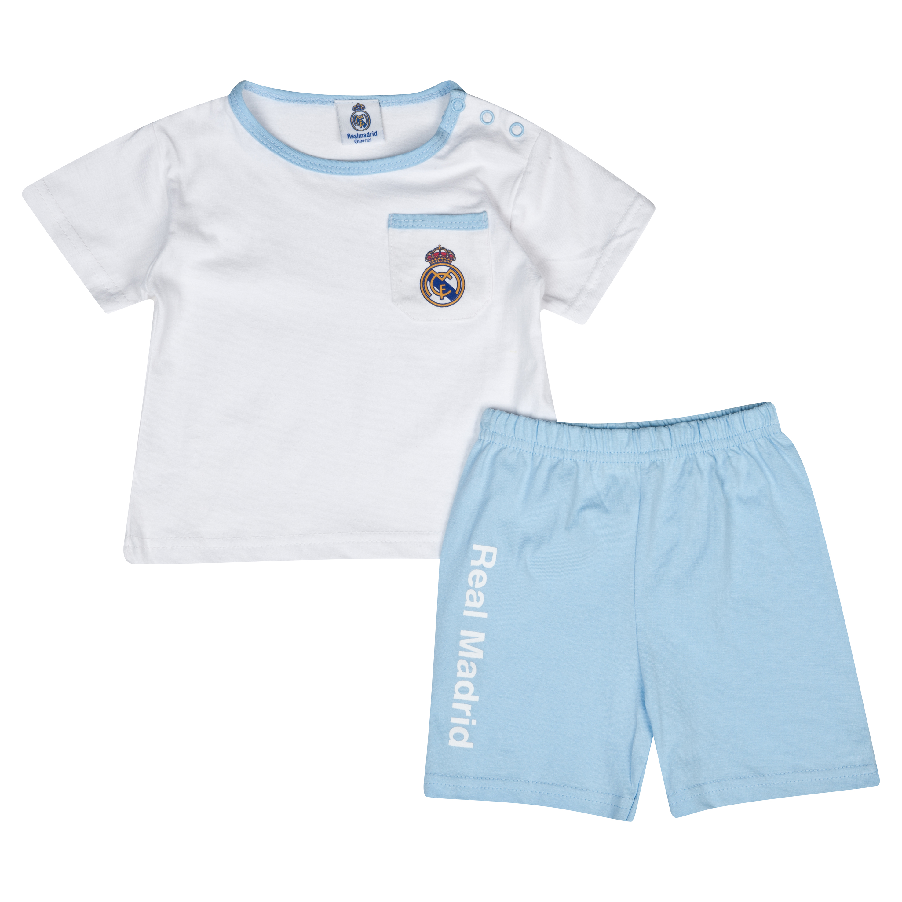Real Madrid Crest Pyjamas - Baby White