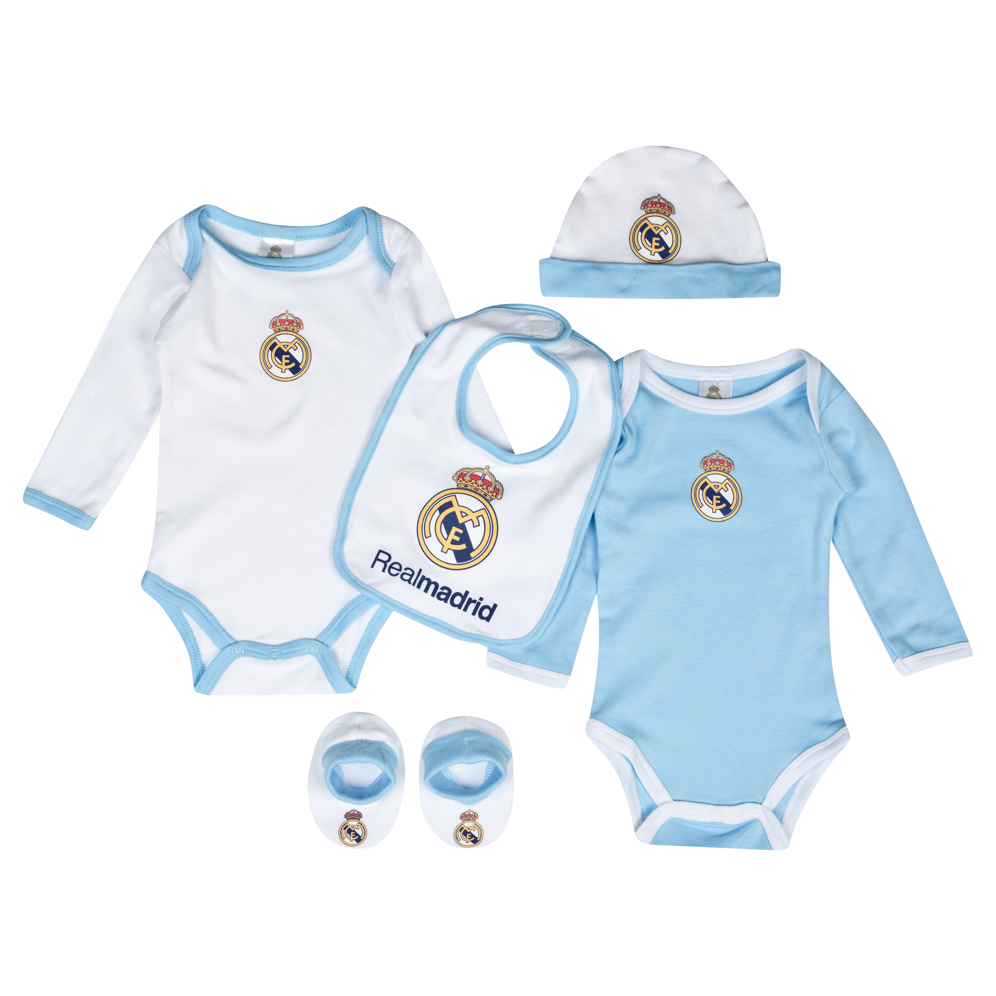 Real Madrid 5 Piece New Born Gift Set - Baby White