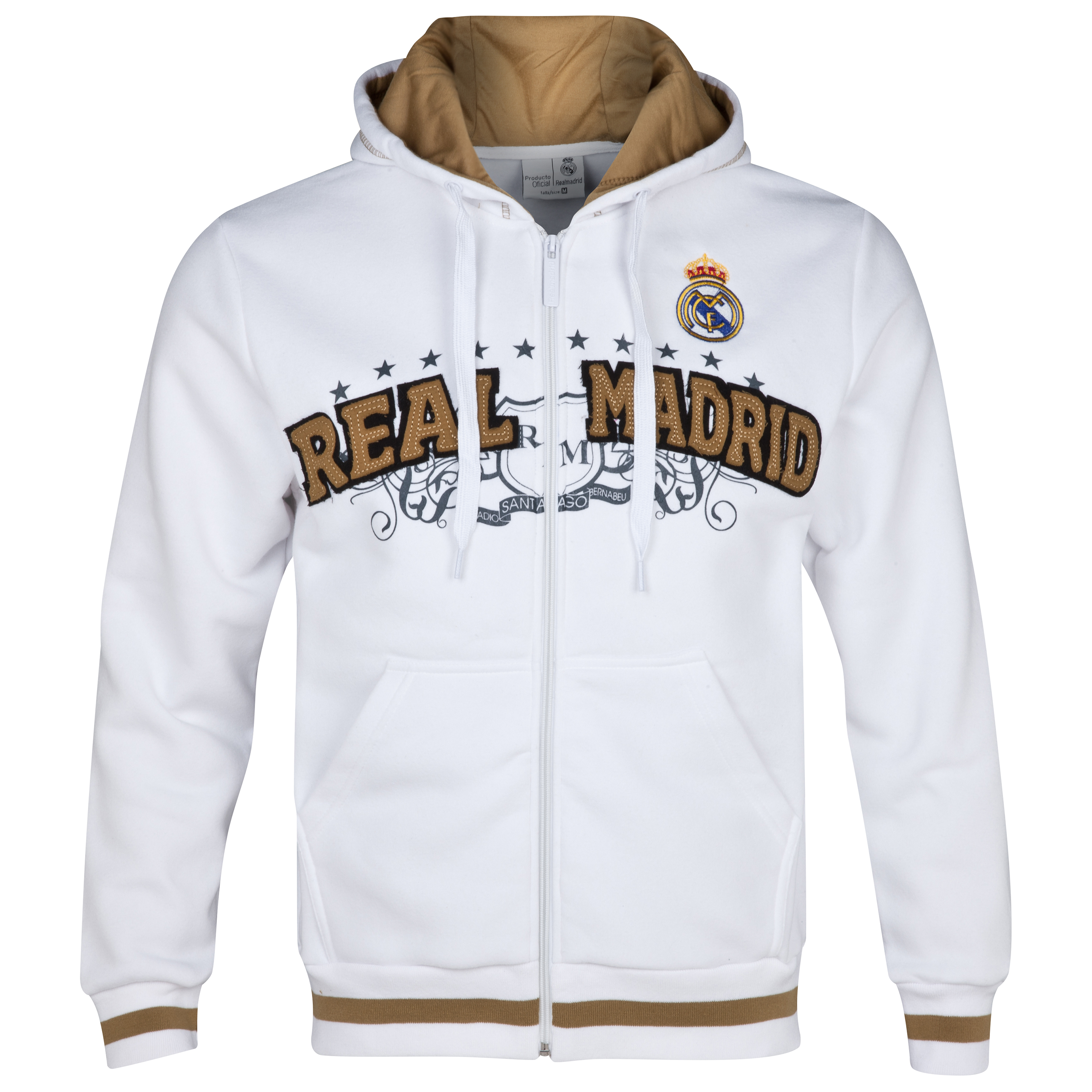 Real Madrid Graphic Zip Through Hoodie - Mens White
