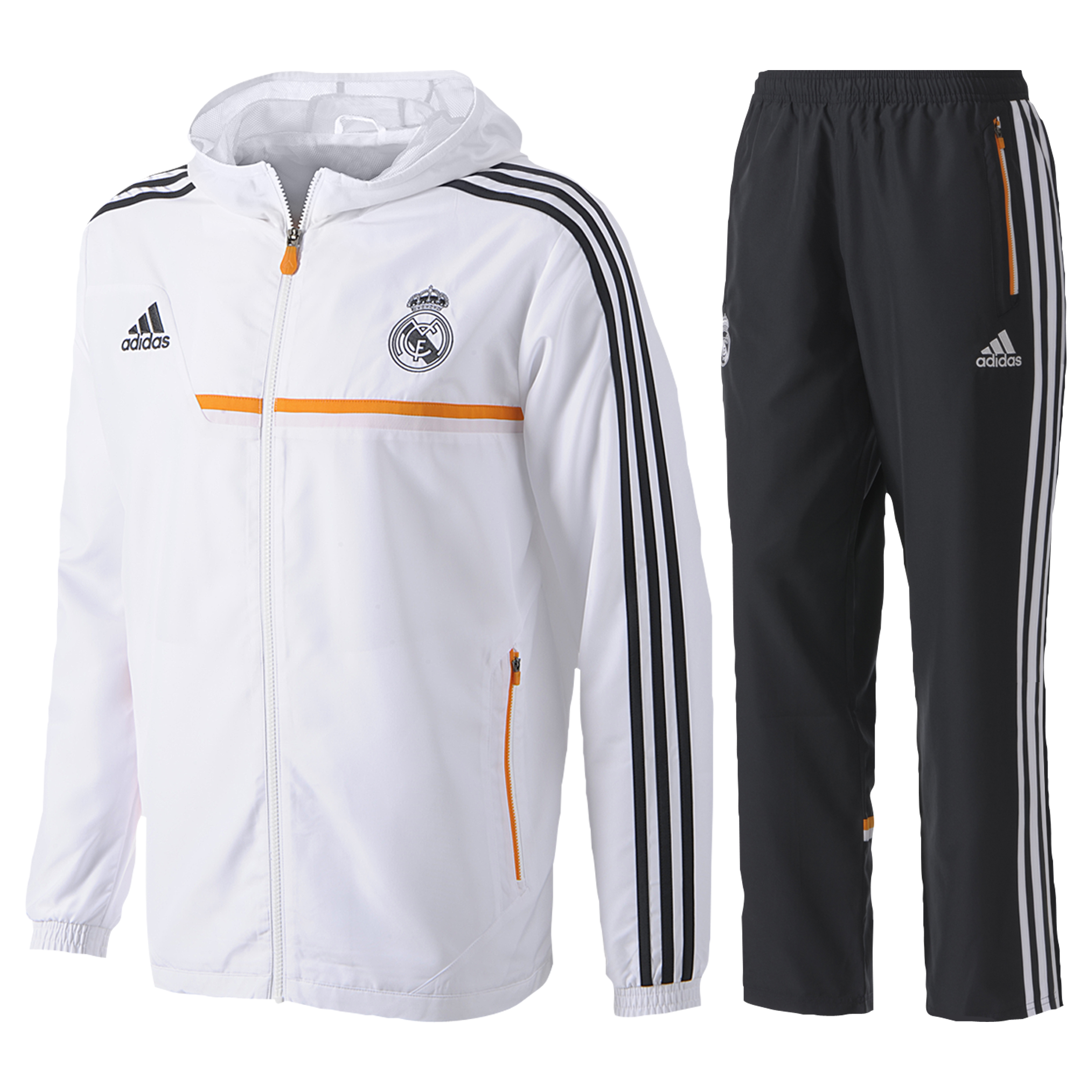 Real Madrid Training Hooded Presentation Suit - Mens White