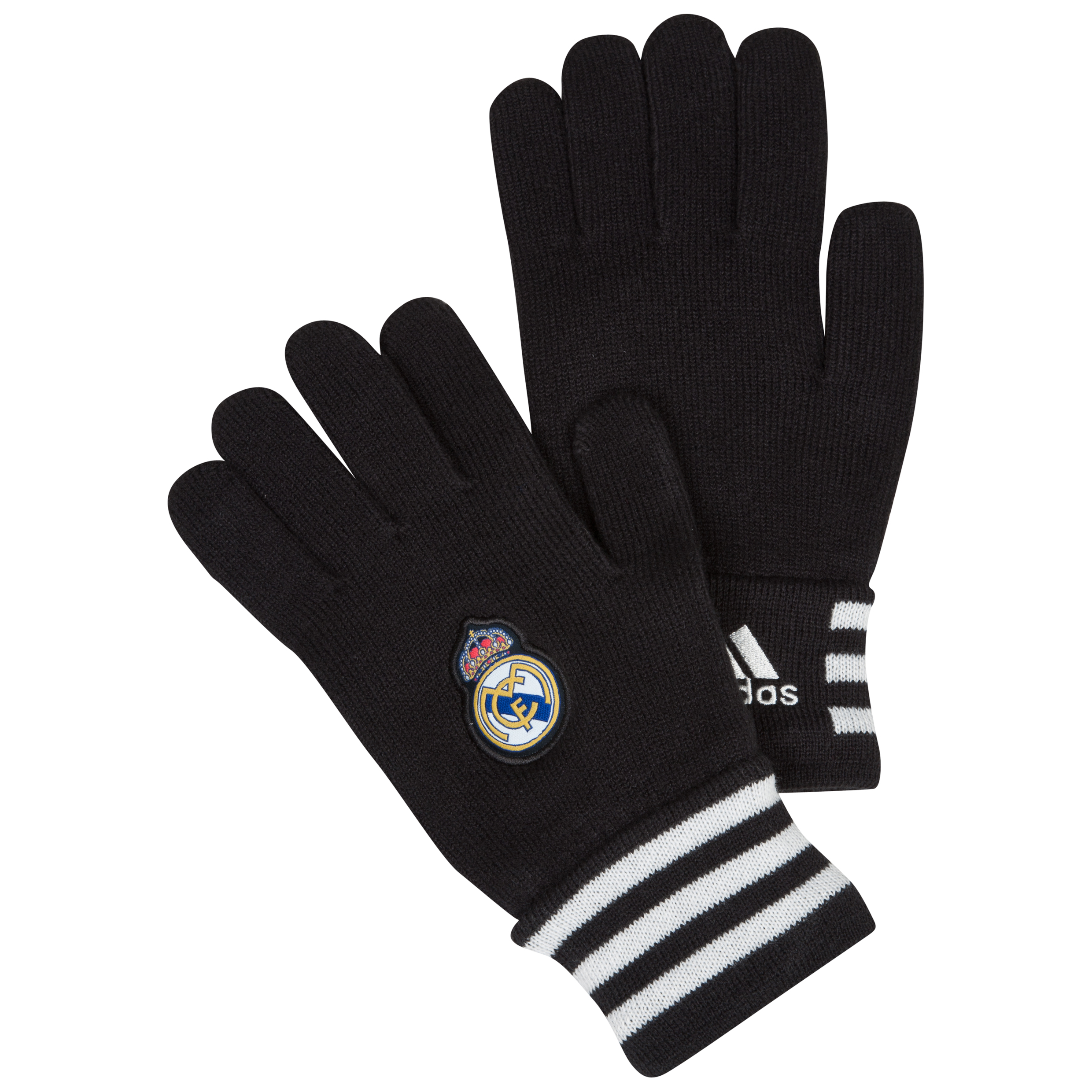 Real Madrid 3 Stripe Gloves - Mens Black