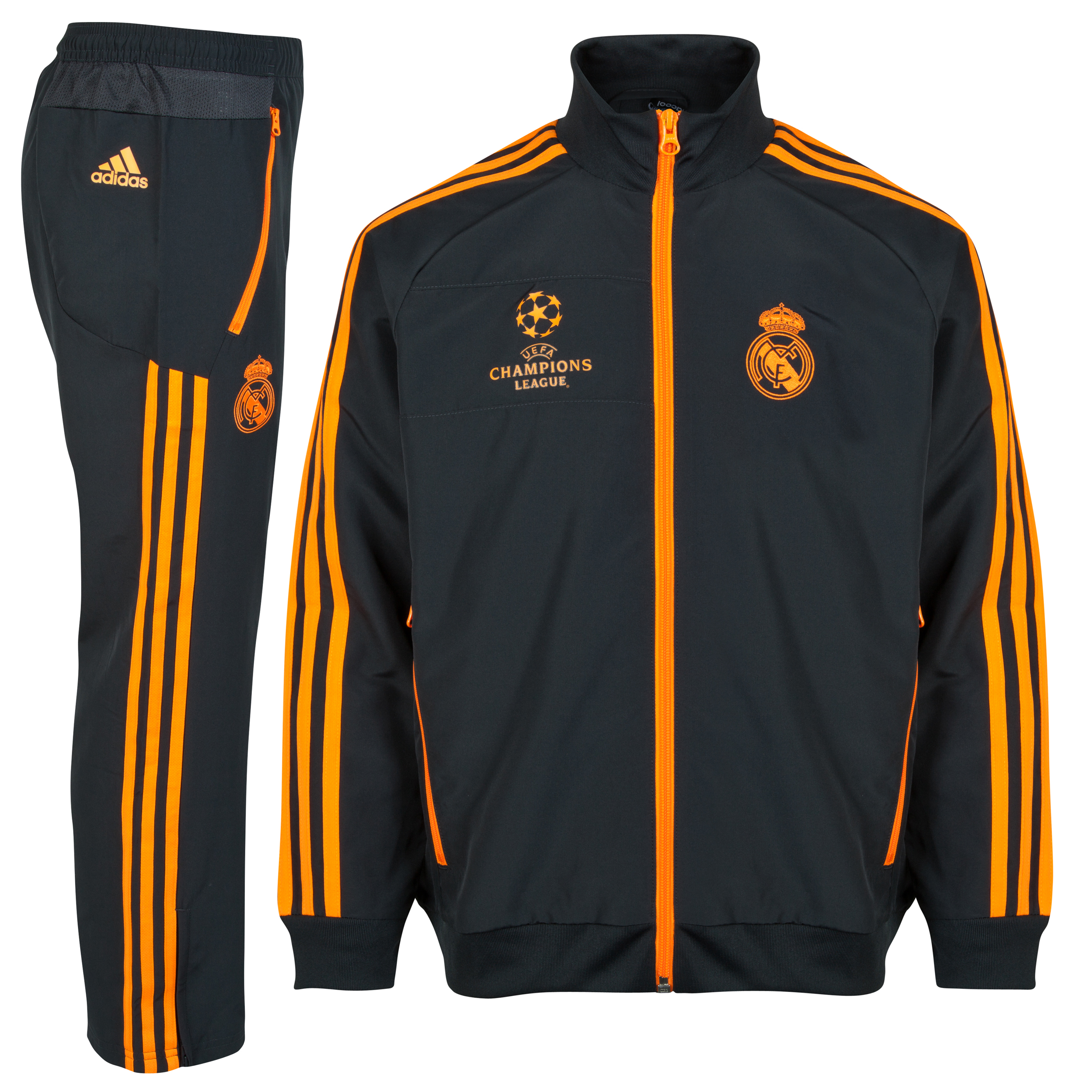 Real Madrid UCL Training Presentation Suit - Kids - Dark Shale/Zest
