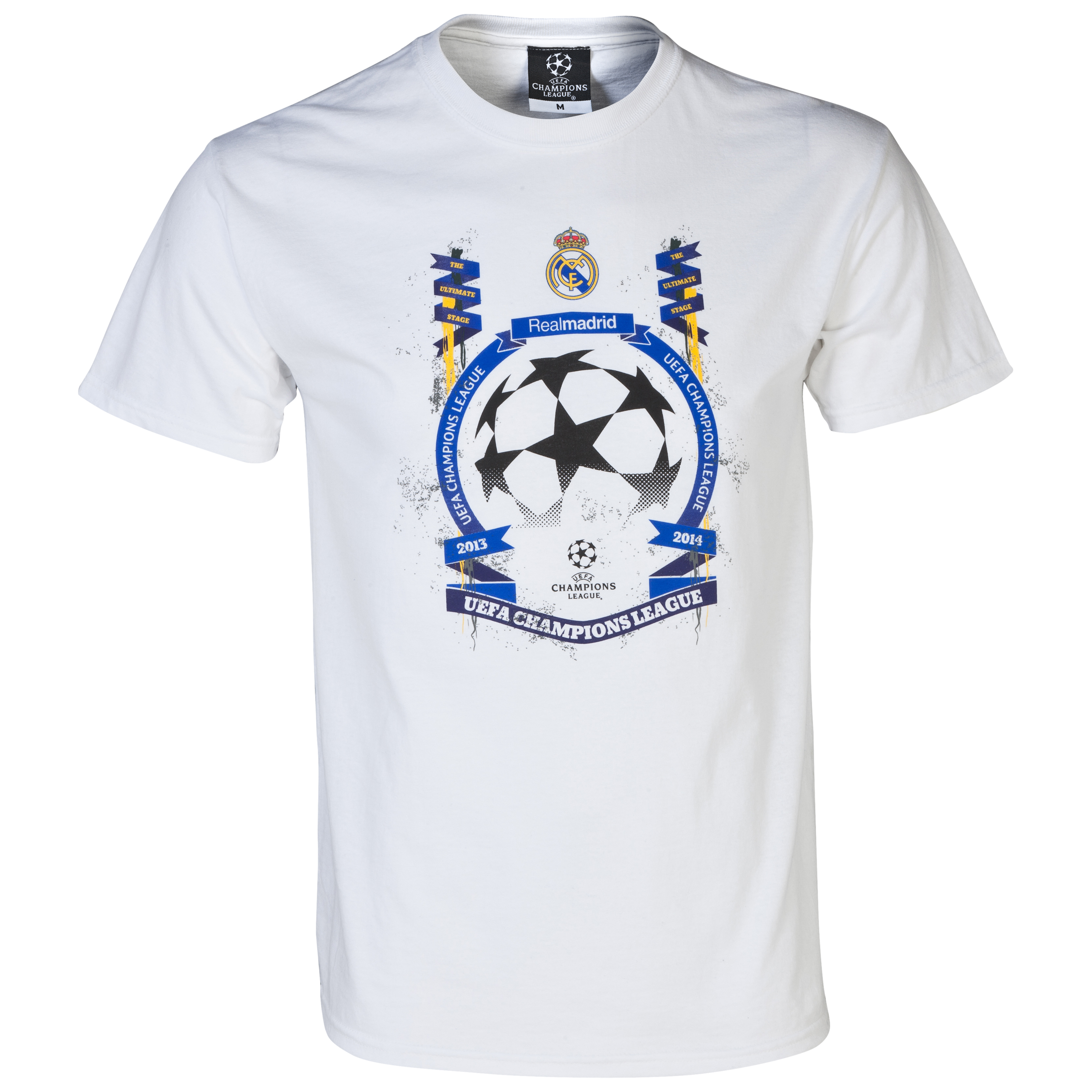 Real Madrid UEFA Champions League Star Ball T-Shirt - Mens White