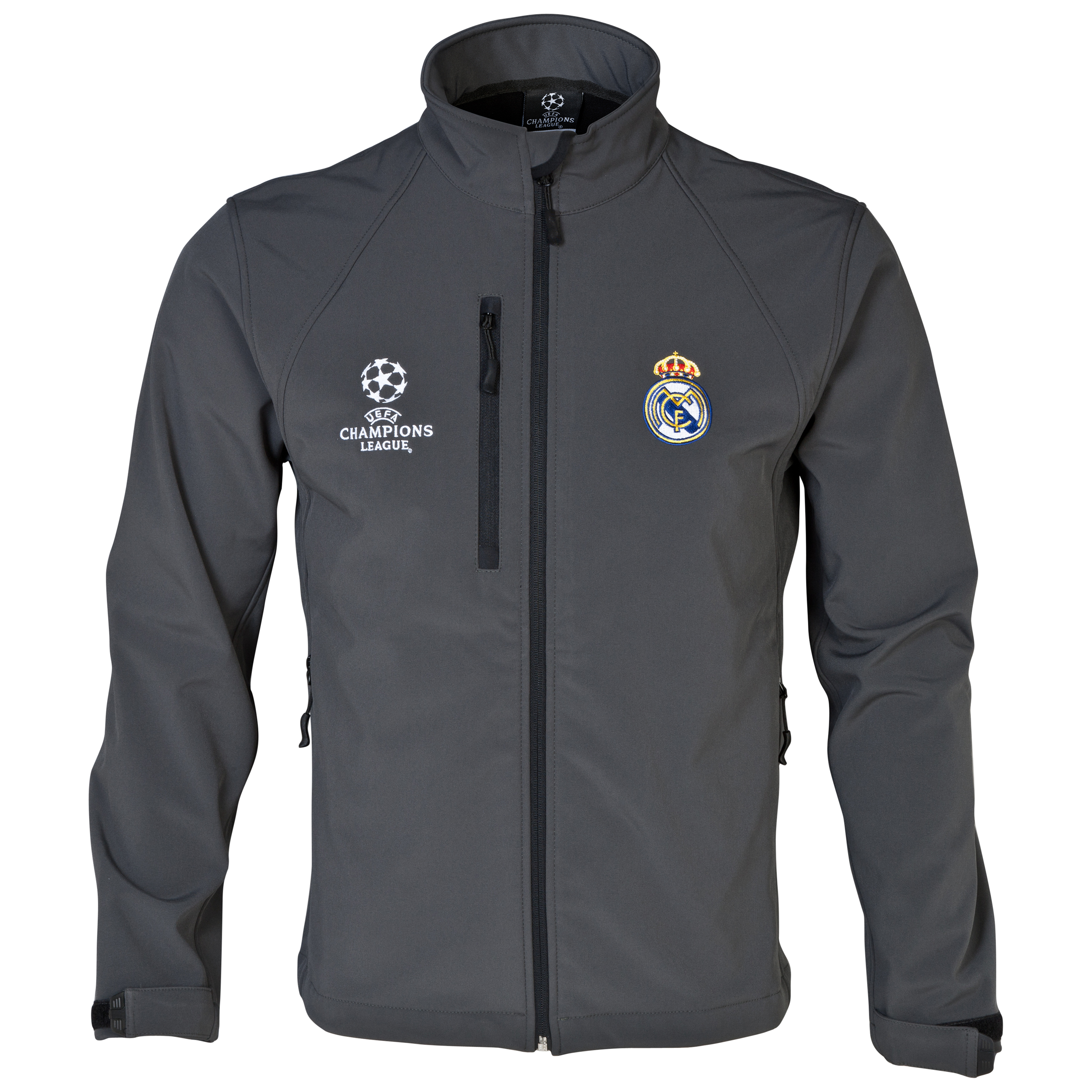 Real Madrid UEFA Champions League Soft Shell Jacket - Mens Charcoal