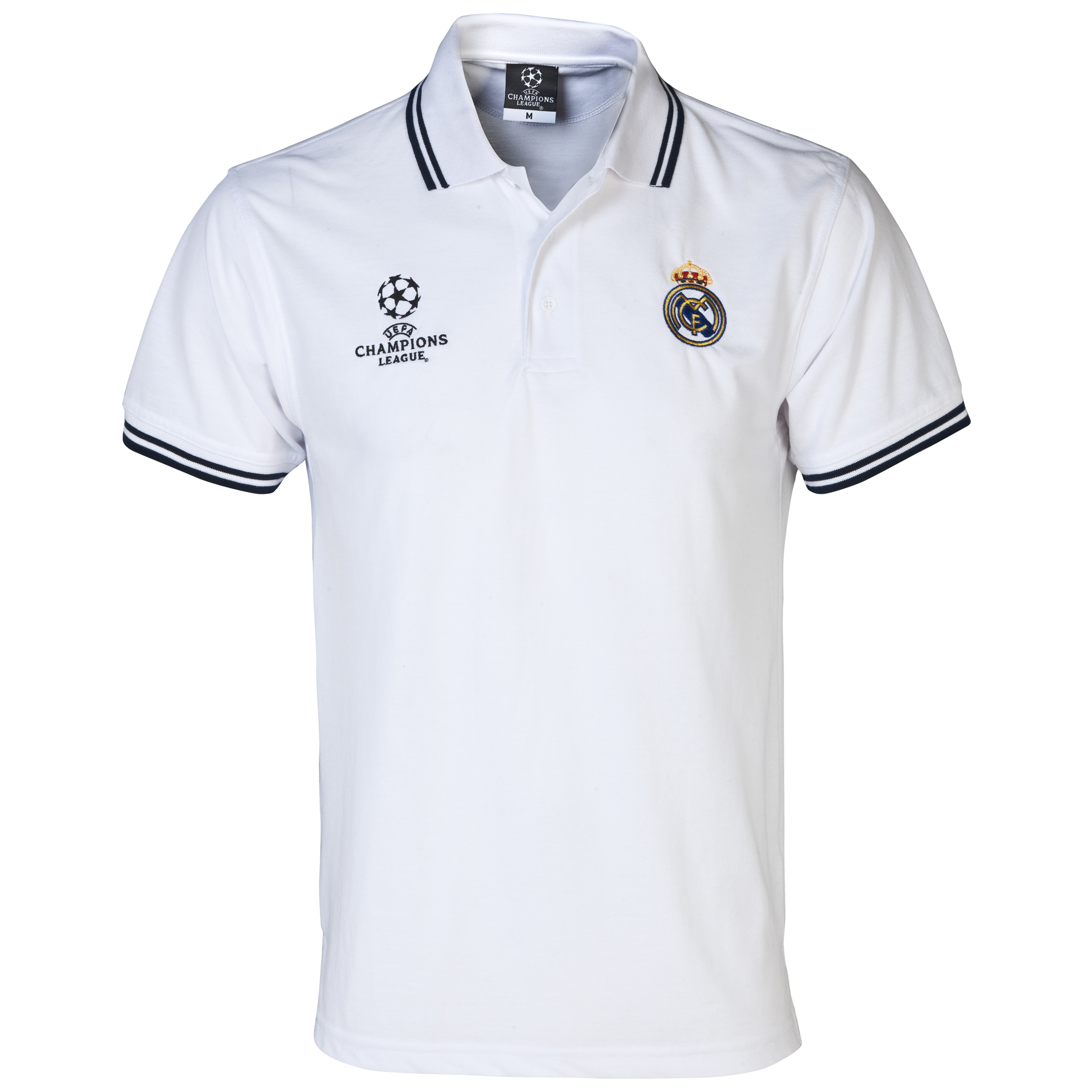 Real Madrid UEFA Champions League Tipped Polo - Mens White