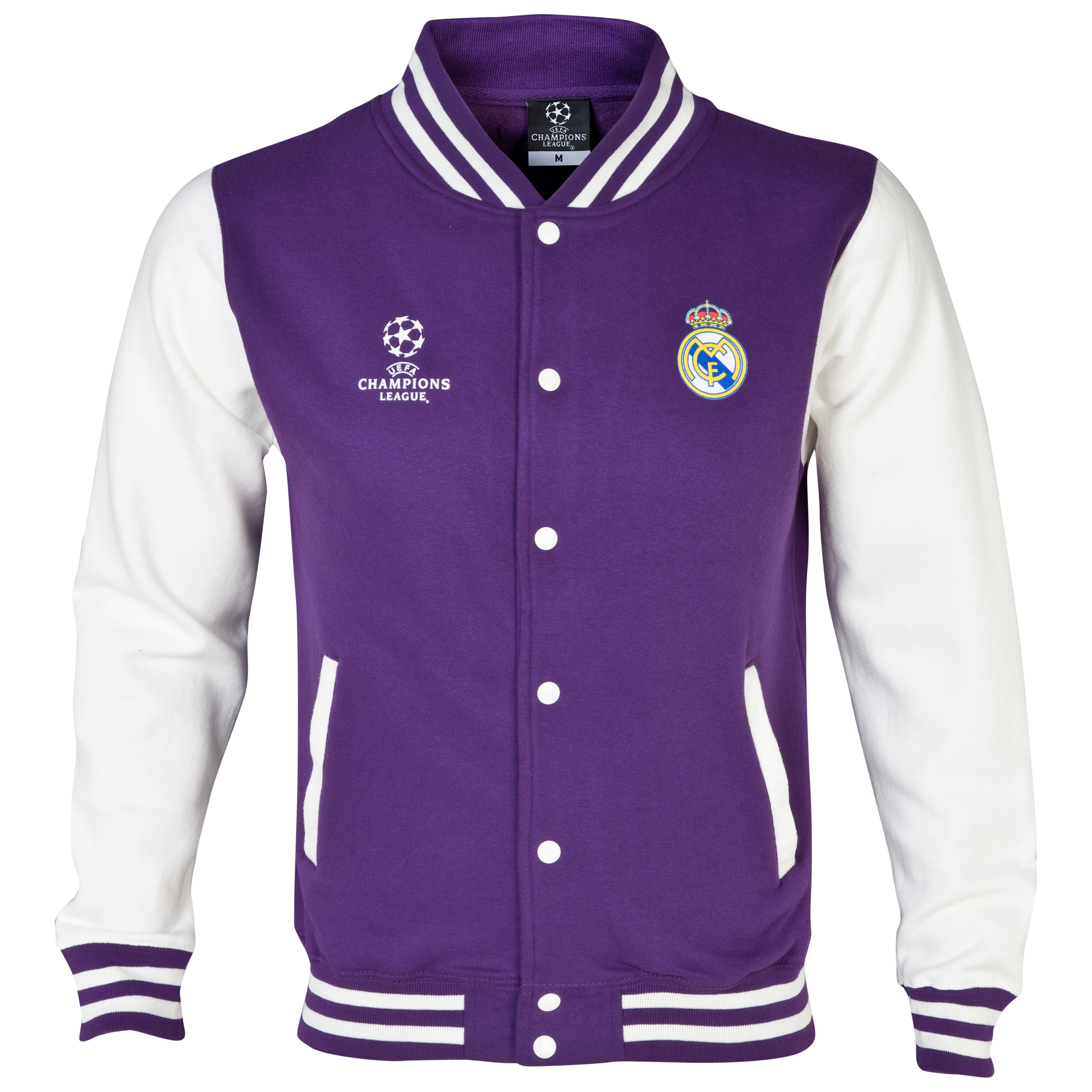 Real Madrid UEFA Champions League Varsity Baseball Jacket - Mens Purple