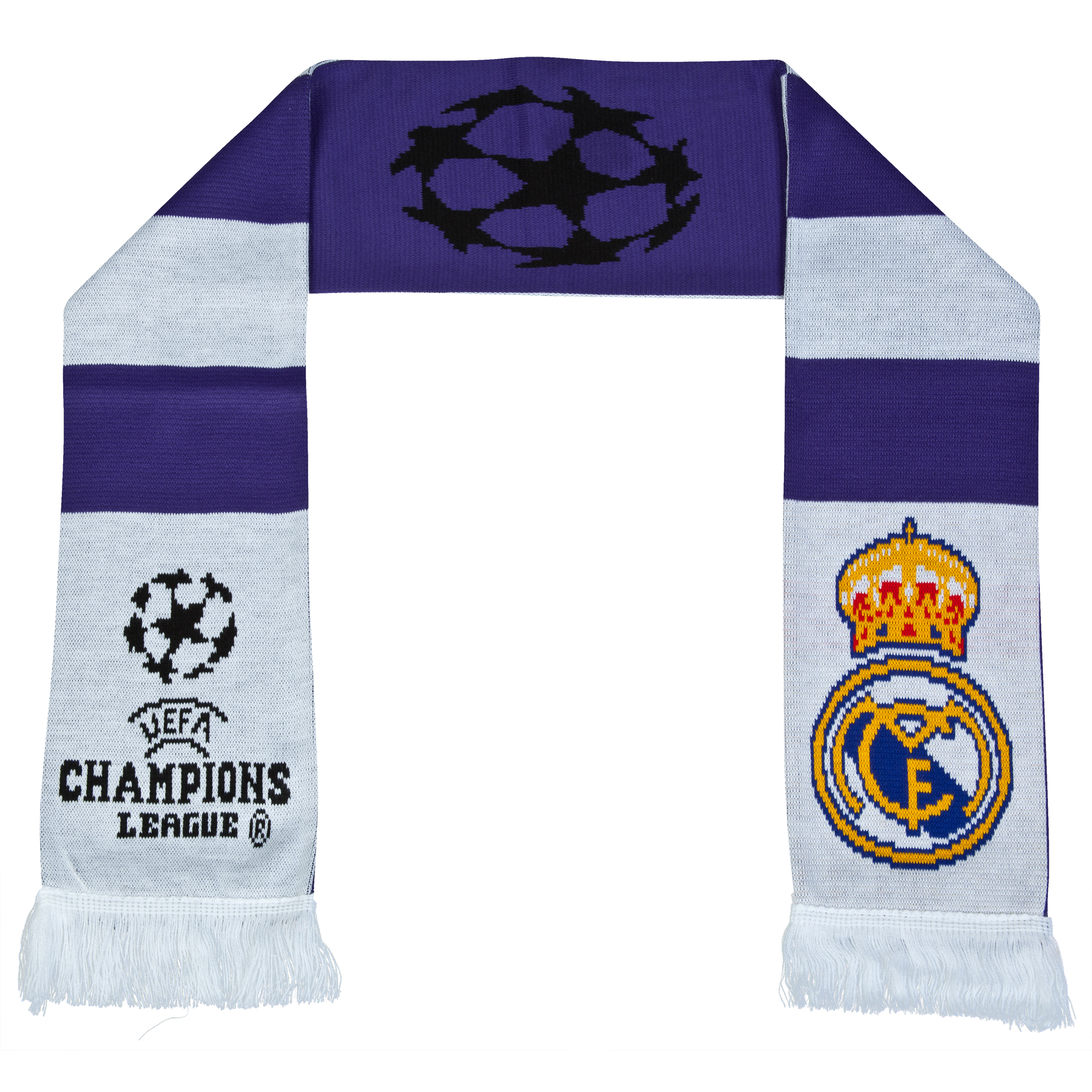 Real Madrid UEFA Champions League Retro Bar Scarf - White/Purple