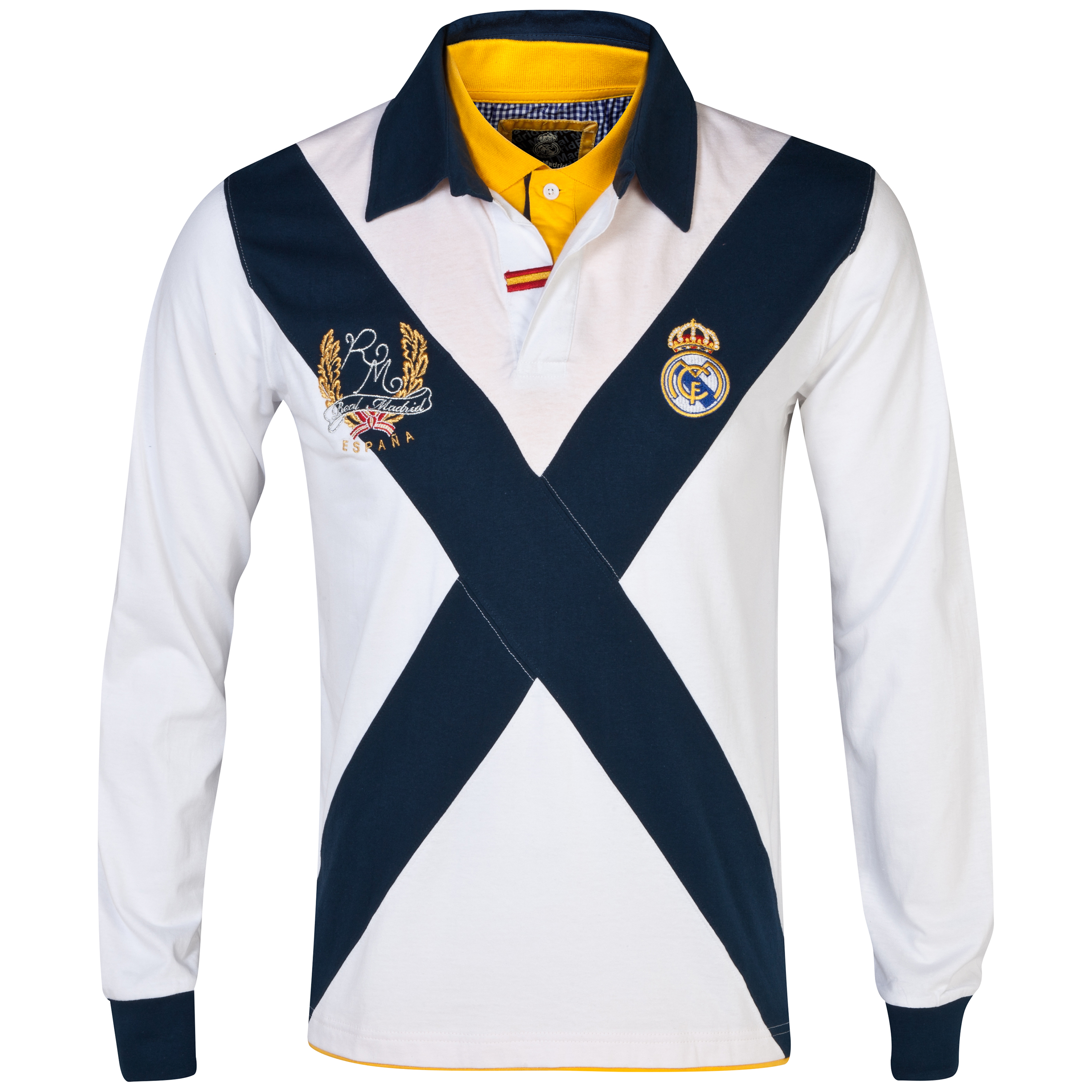 Real Madrid Cross Long Sleeve Polo Shirt - Mens White