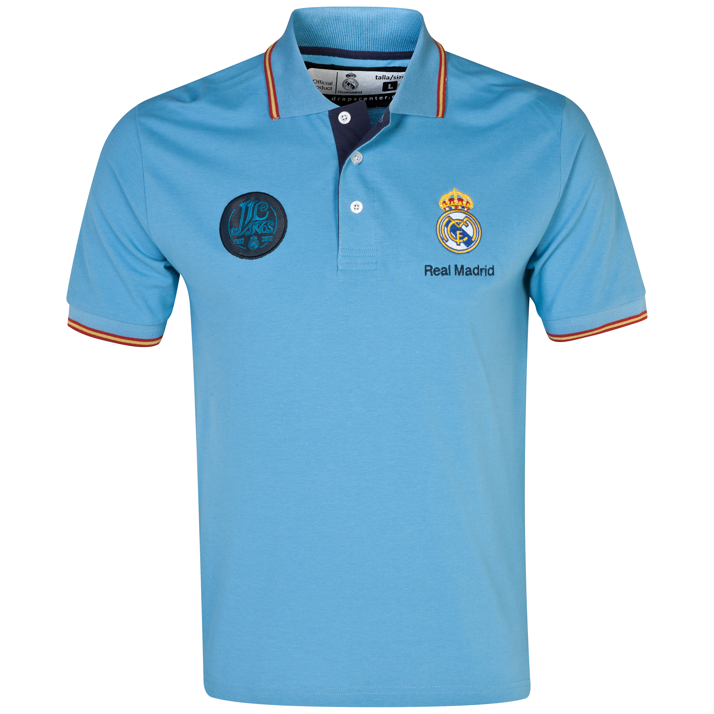 Real Madrid Classic Tipped Polo Shirt - Mens Blue