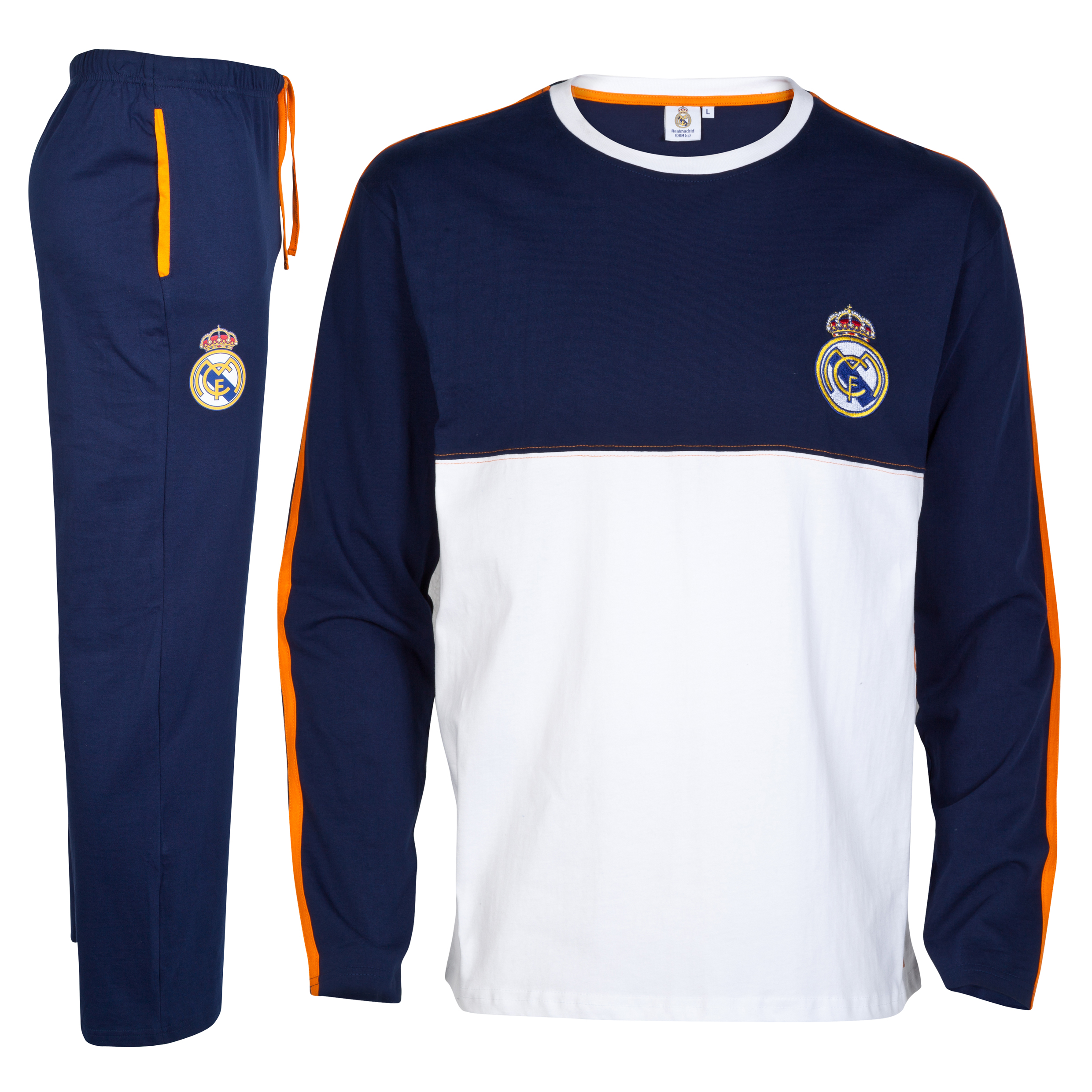Real Madrid Long Crest Pyjamas - Mens Blue