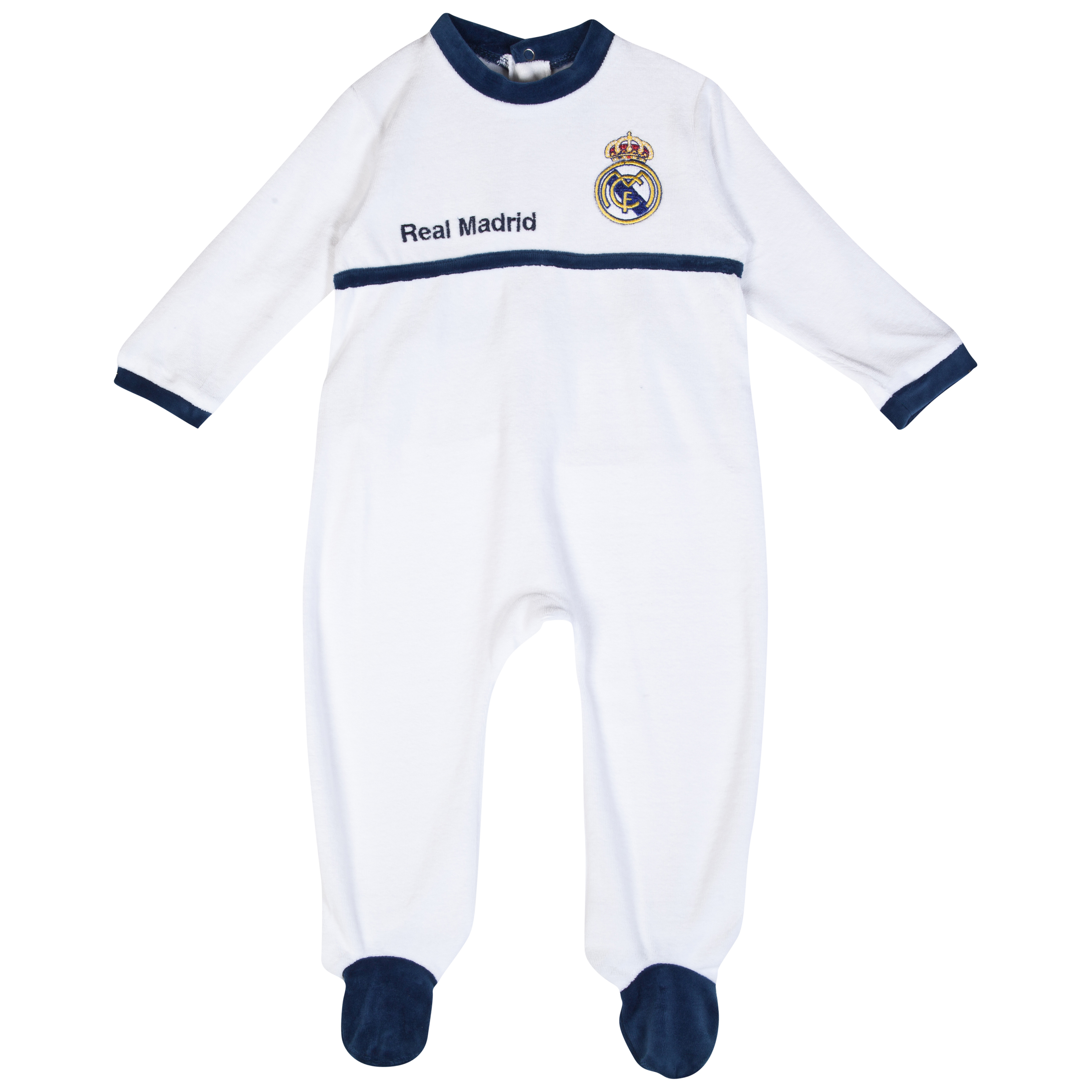 Real Madrid Crest Sleepsuit - Baby White