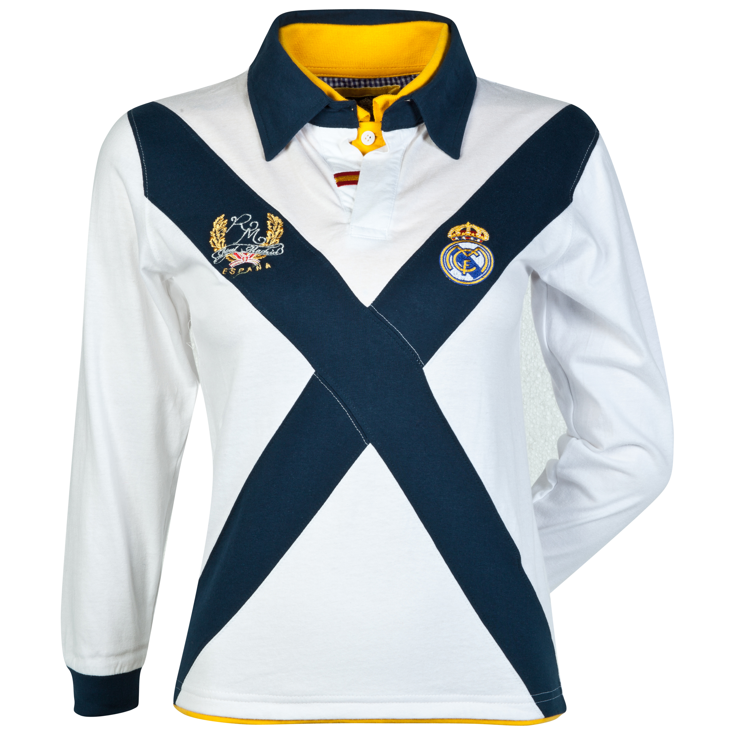 Real Madrid Cross Long Sleeve Polo Shirt - Boys White