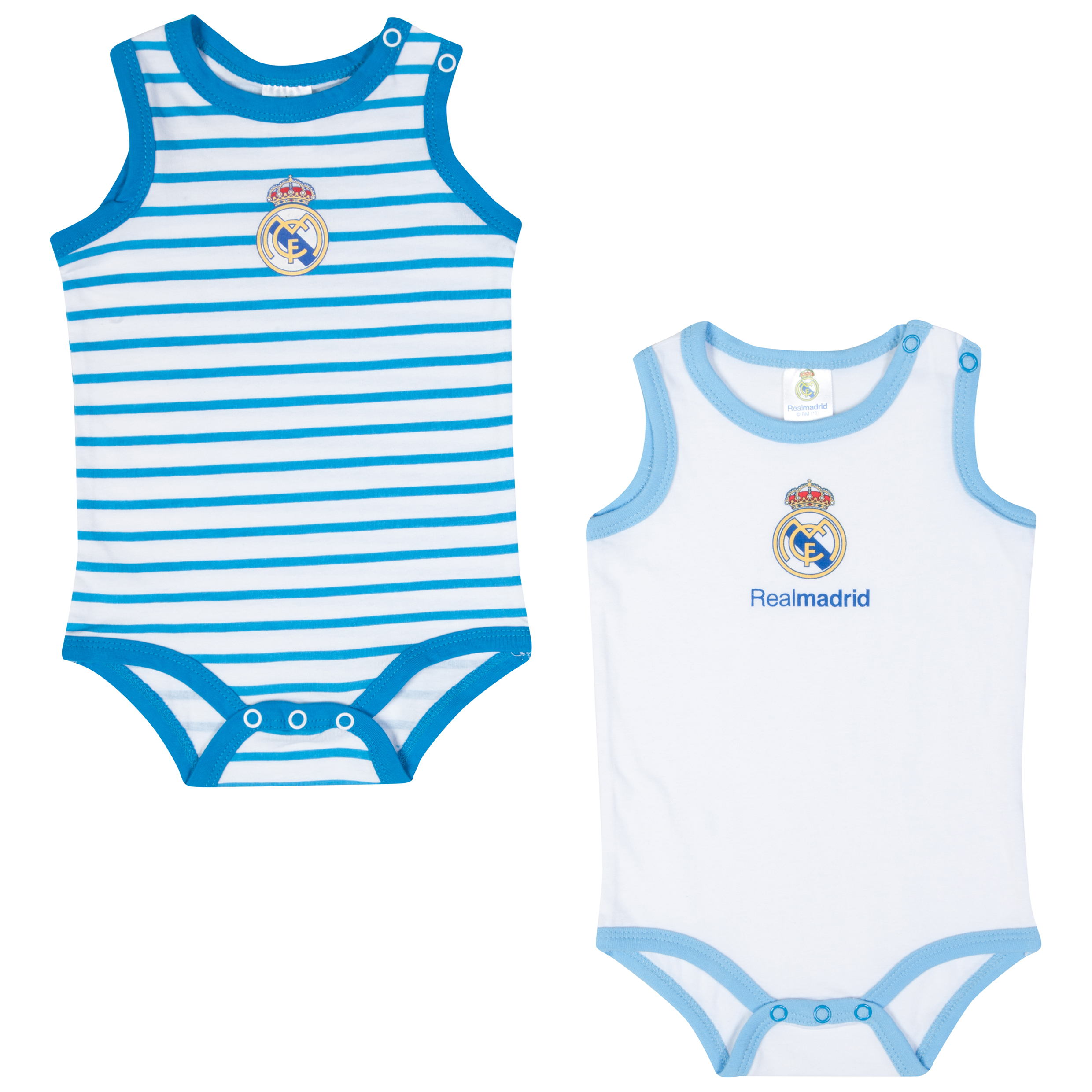 Real Madrid 2 PK Bodysuits - Blue/White - Baby Unisex