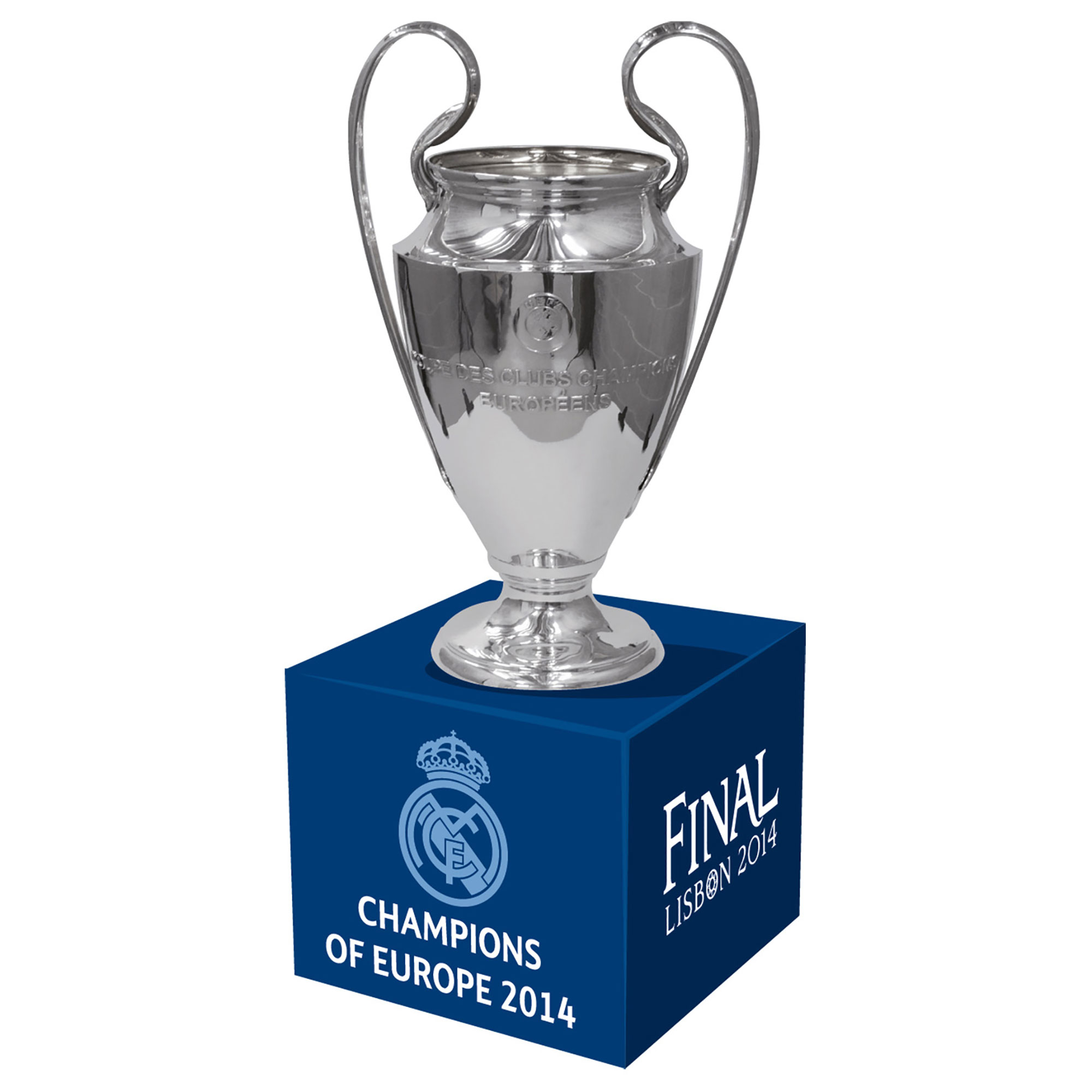 Image of Real Madrid 2014 Champions of Europe Trophy on Wooden Pedestal - 70mm