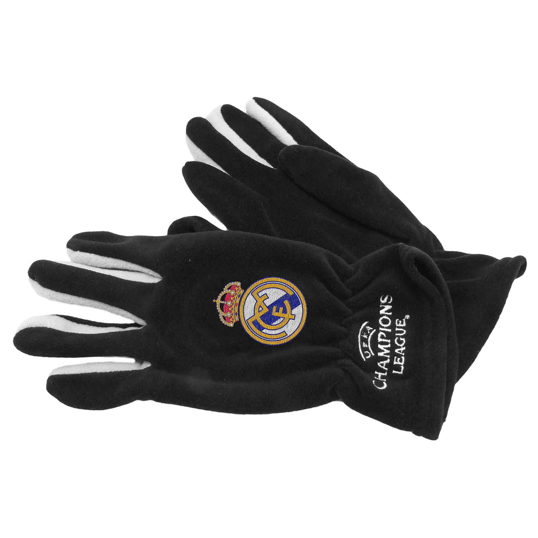 Real Madrid UEFA Champions League Fleece Gloves - Black - Adult