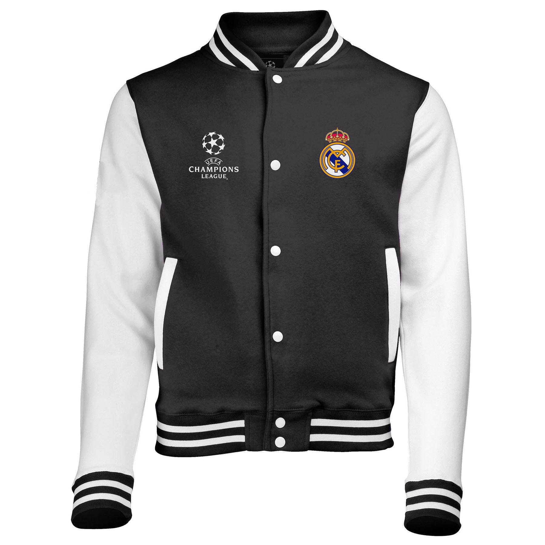 Real Madrid UEFA Champions League Varsity Baseball Jacket - Black - Mens